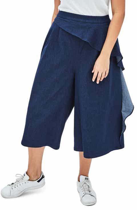 ELVI The Maja Chambray Culottes (Plus Size)