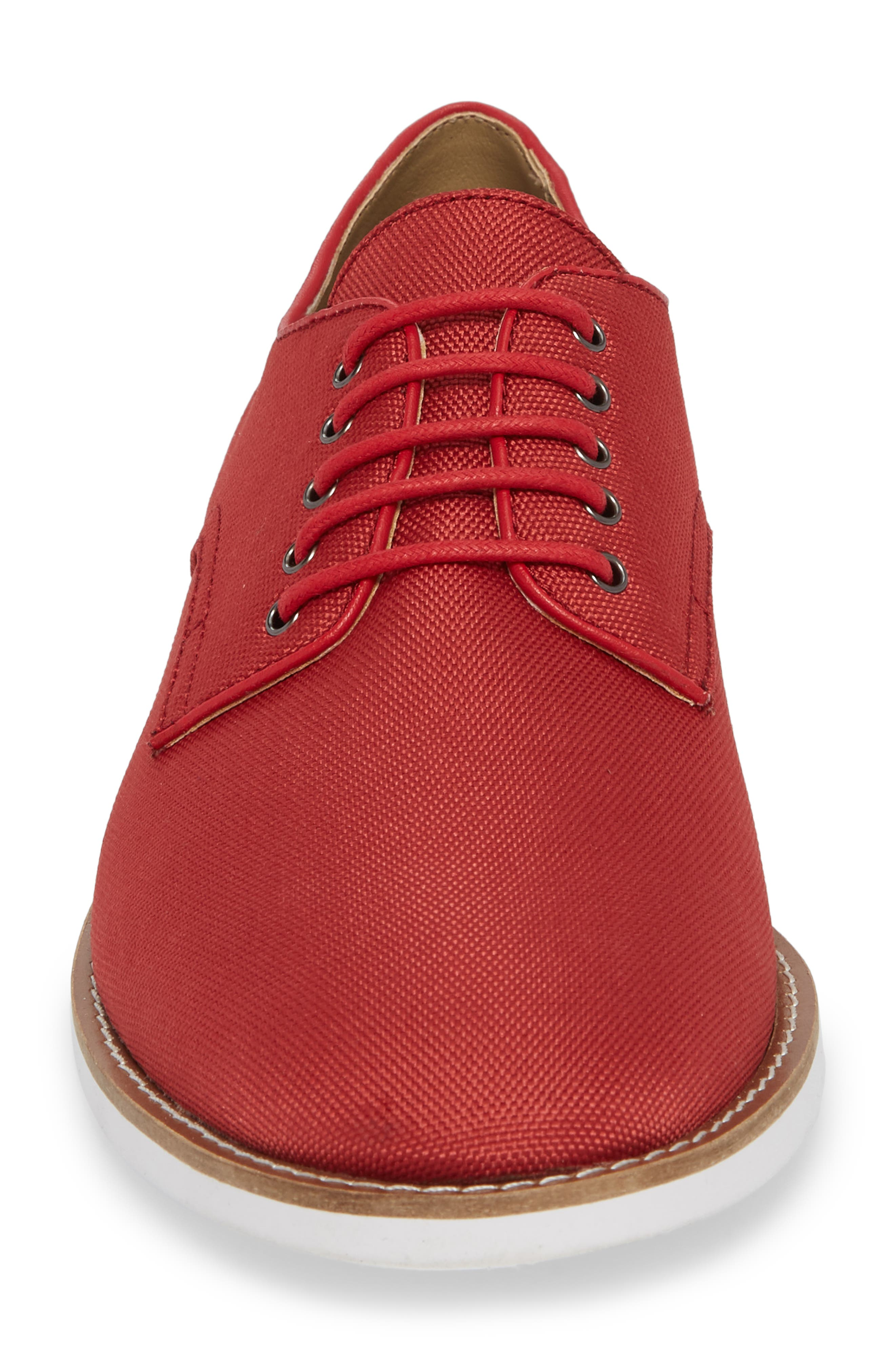 Atlee Plain Toe Derby,                             Alternate thumbnail 4, color,                             Brick Red Nylon