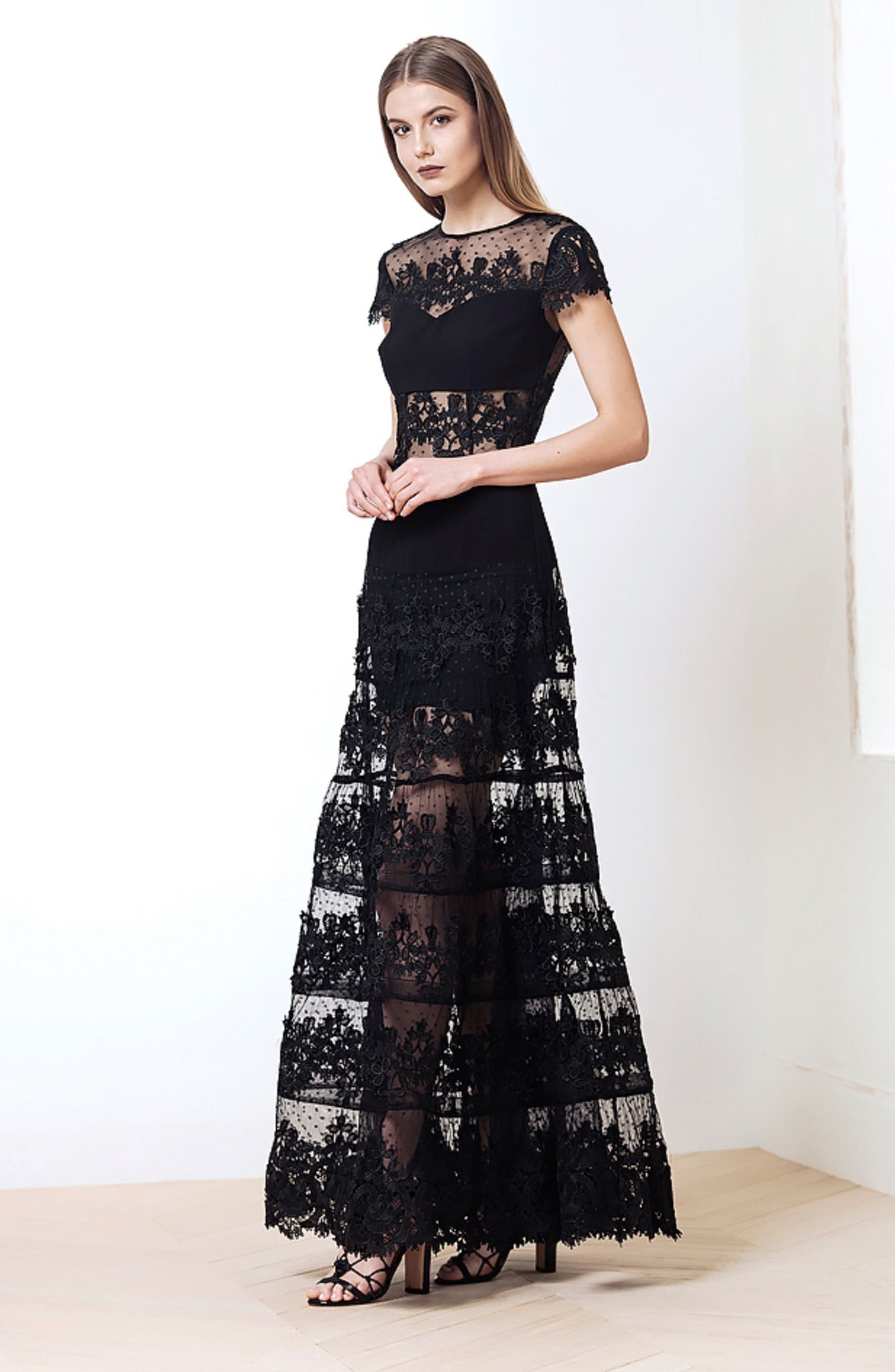 Flamenco Lace Inset Gown,                             Alternate thumbnail 8, color,                             Black/ Navy