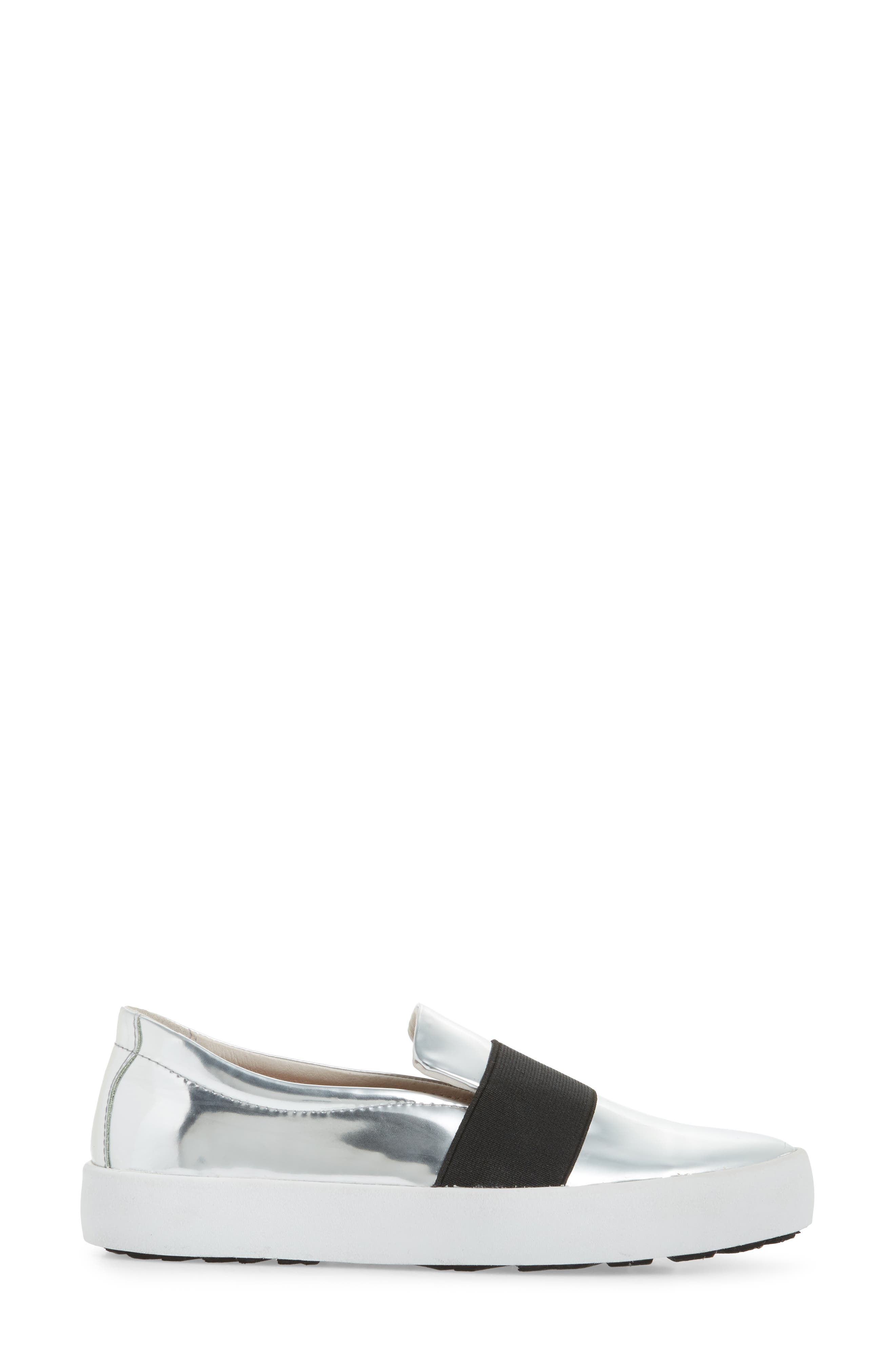 PL99 Slip-On Sneaker,                             Alternate thumbnail 3, color,                             Silver Leather