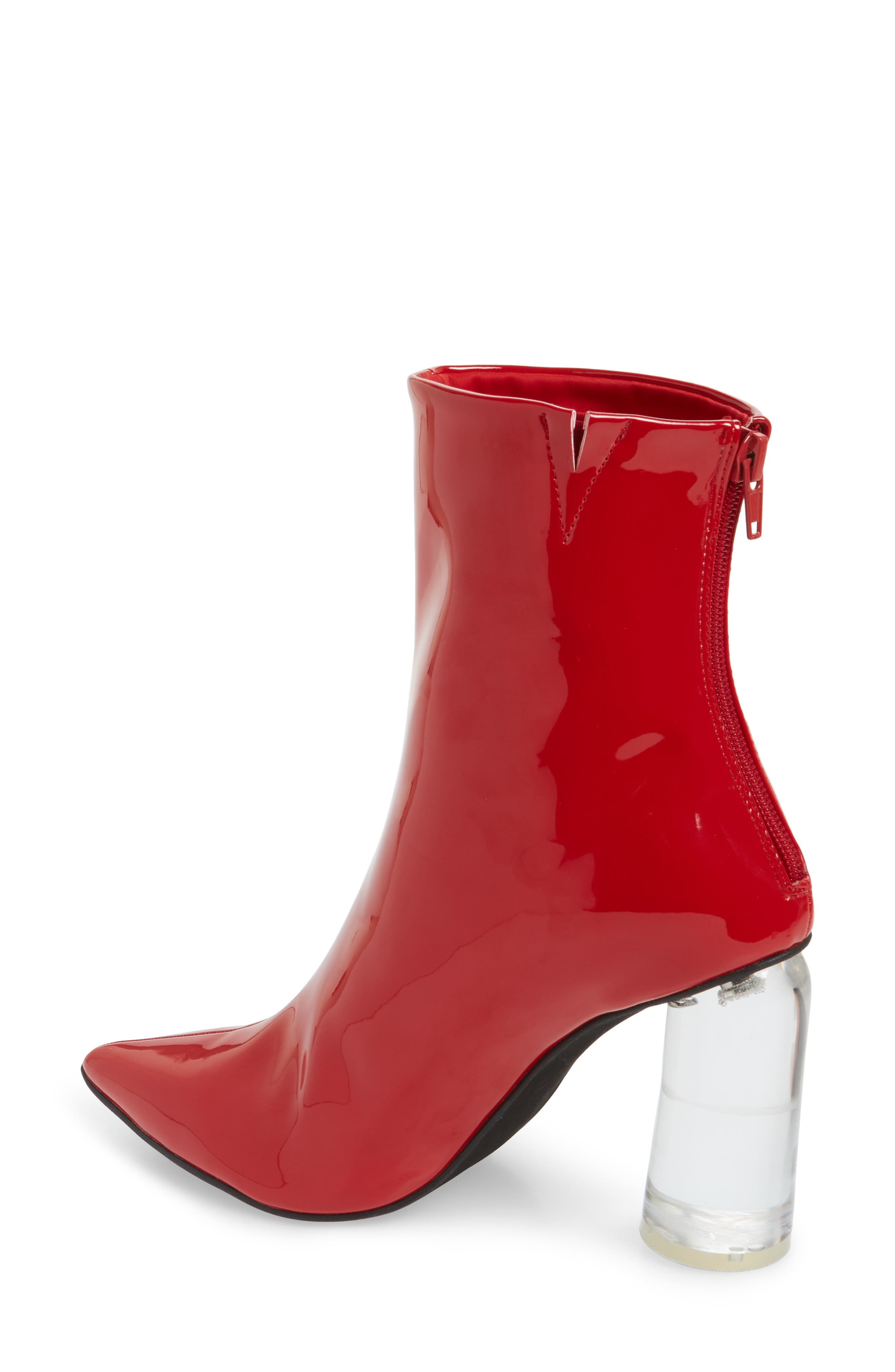 Lustrous Column Heel Bootie,                             Alternate thumbnail 2, color,                             Red Patent Leather/ Clear