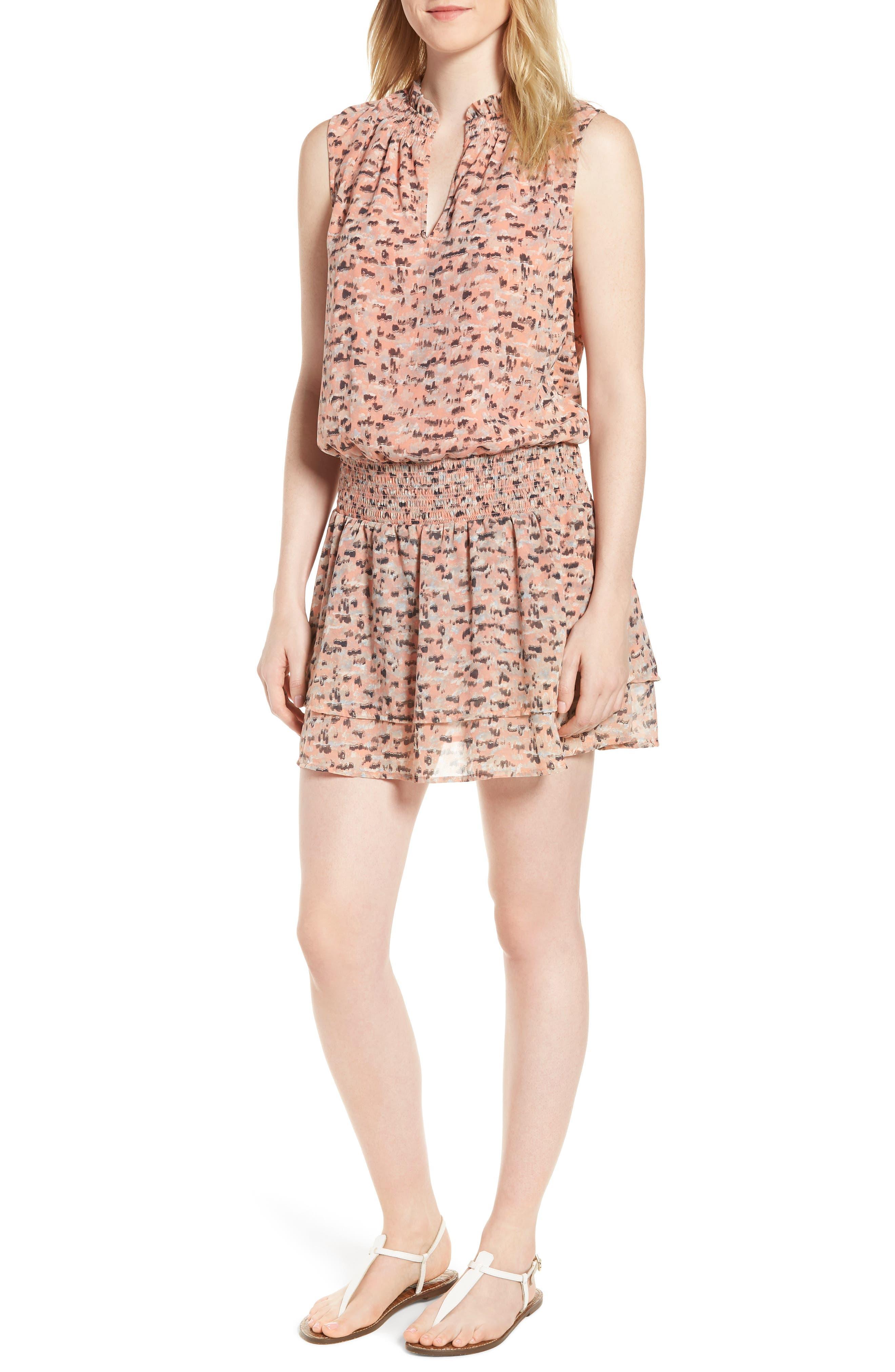 Printed Drop Waist Mini Dress,                             Main thumbnail 1, color,                             Pink Multi
