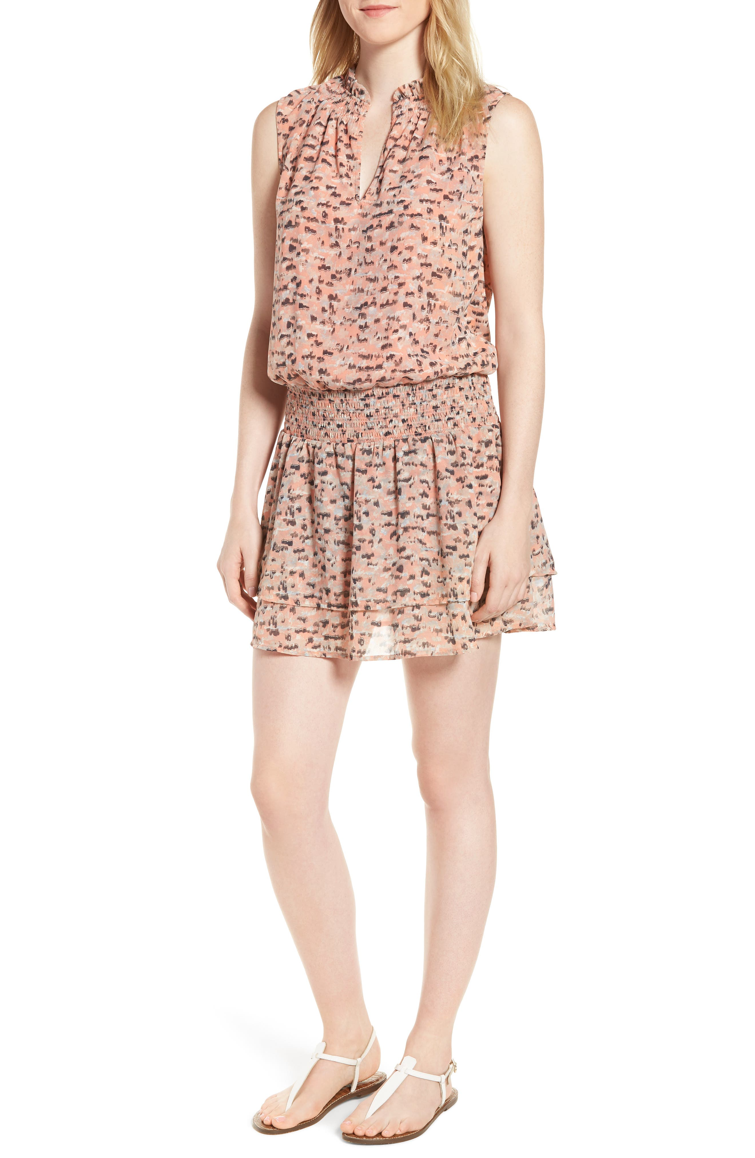Printed Drop Waist Mini Dress,                         Main,                         color, Pink Multi