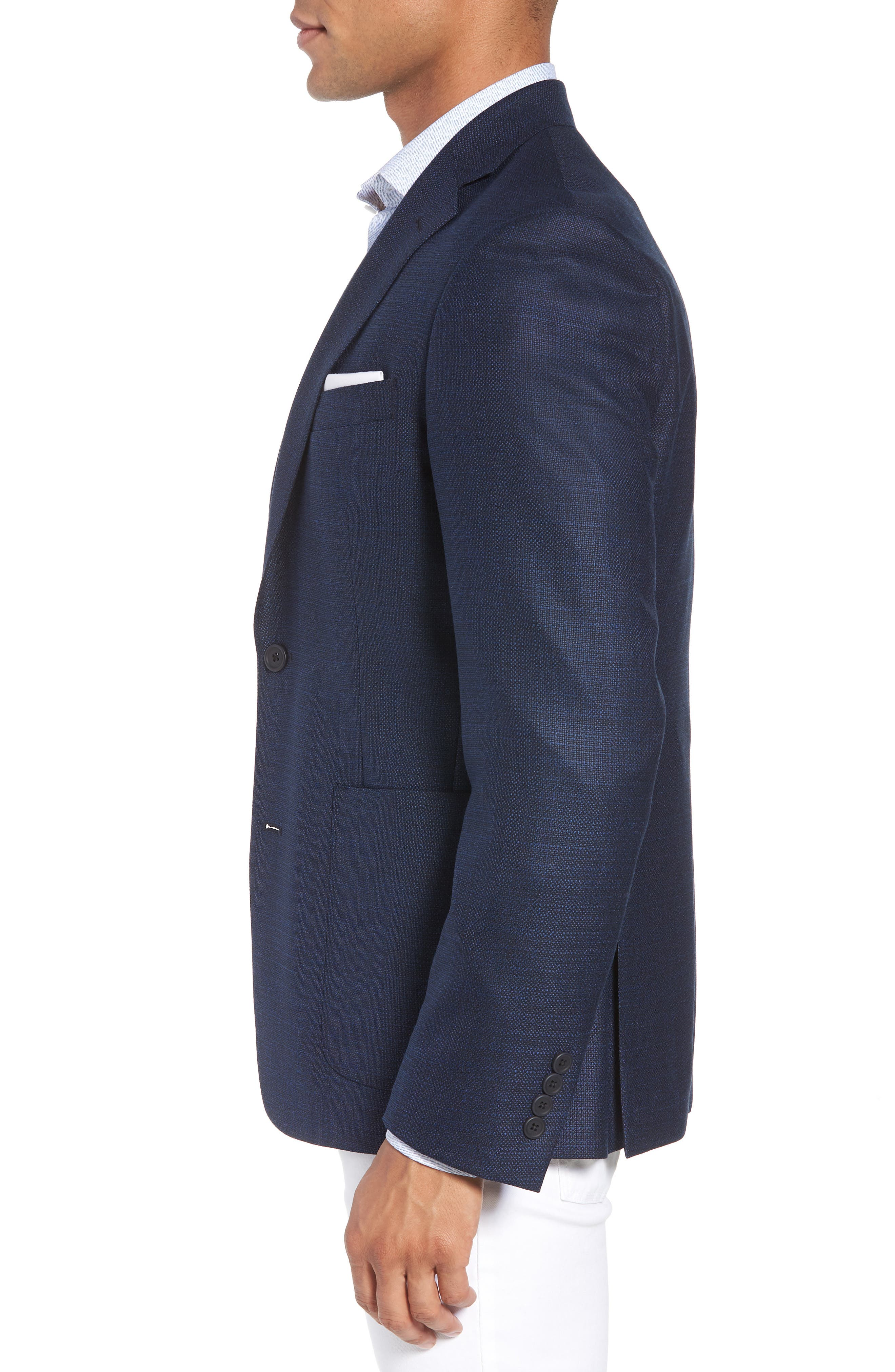 Trim Fit Wool Blazer,                             Alternate thumbnail 3, color,                             Navy