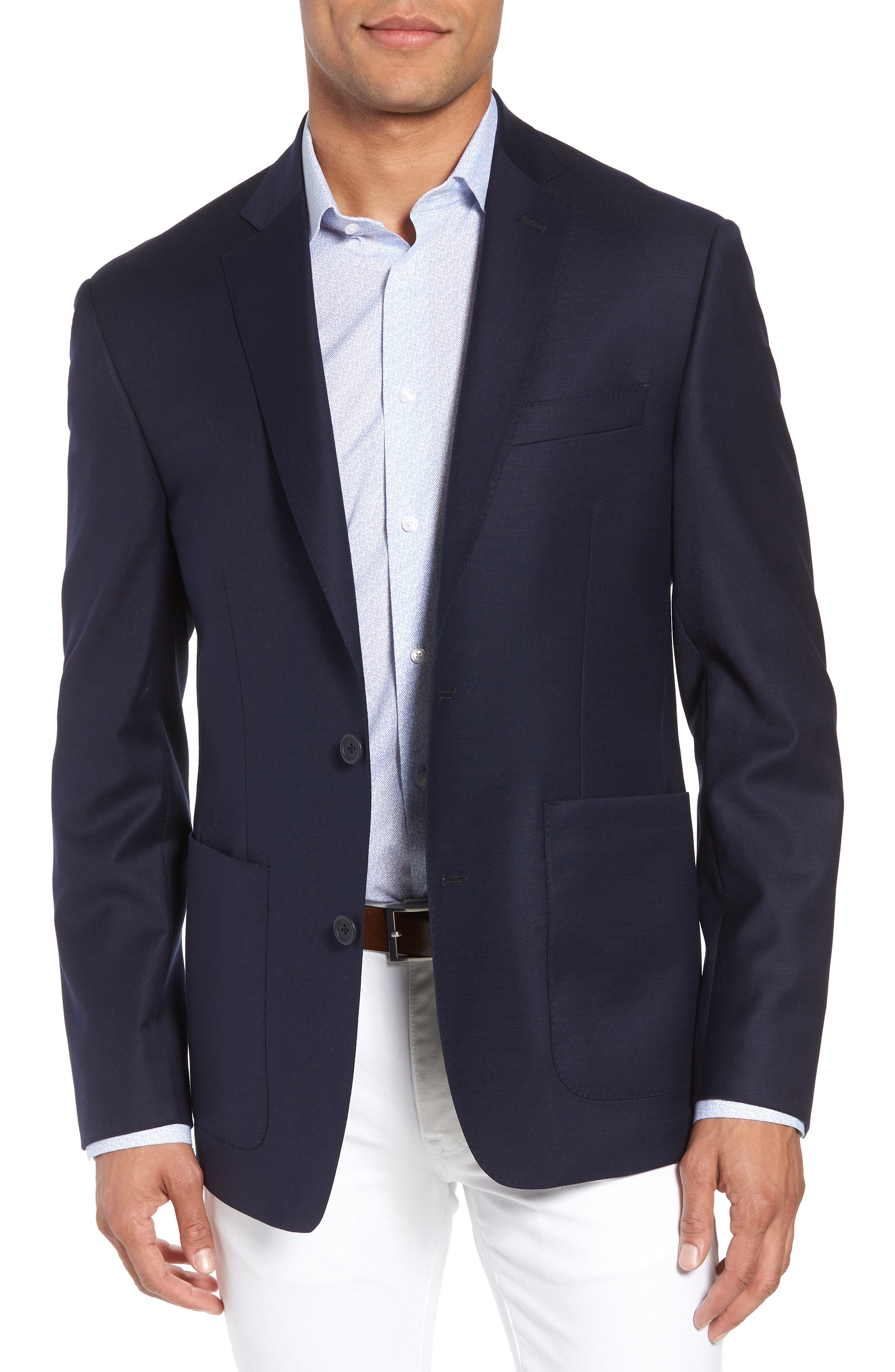 Trim Fit Stretch Wool Travel Blazer,                         Main,                         color, Navy
