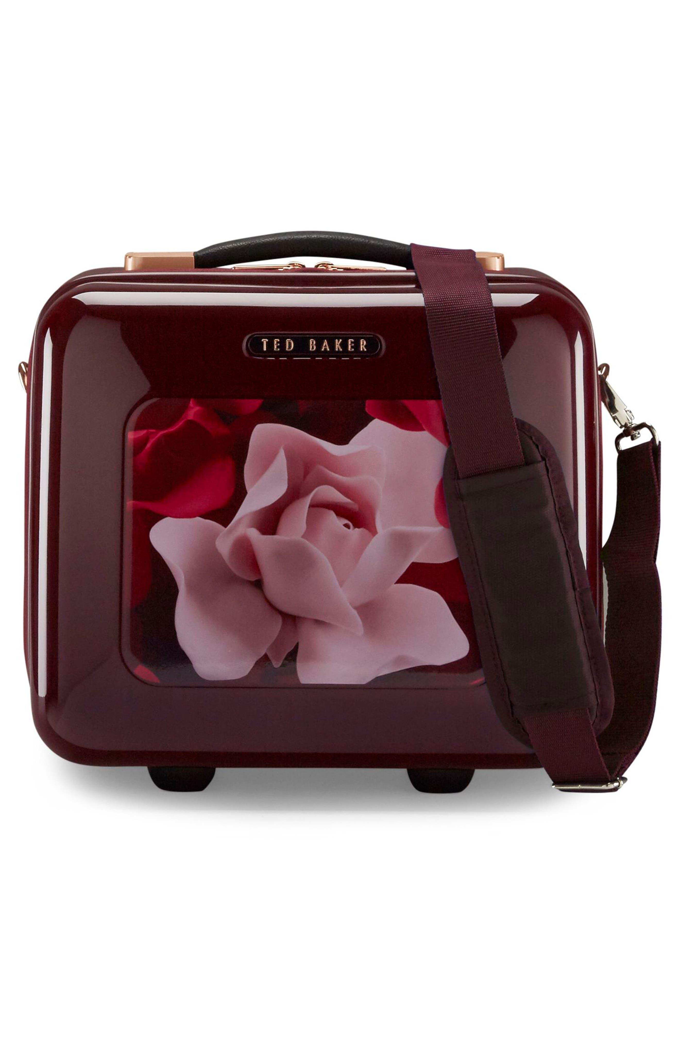 Porcelain Rose Vanity Case,                             Alternate thumbnail 5, color,                             Burgundy