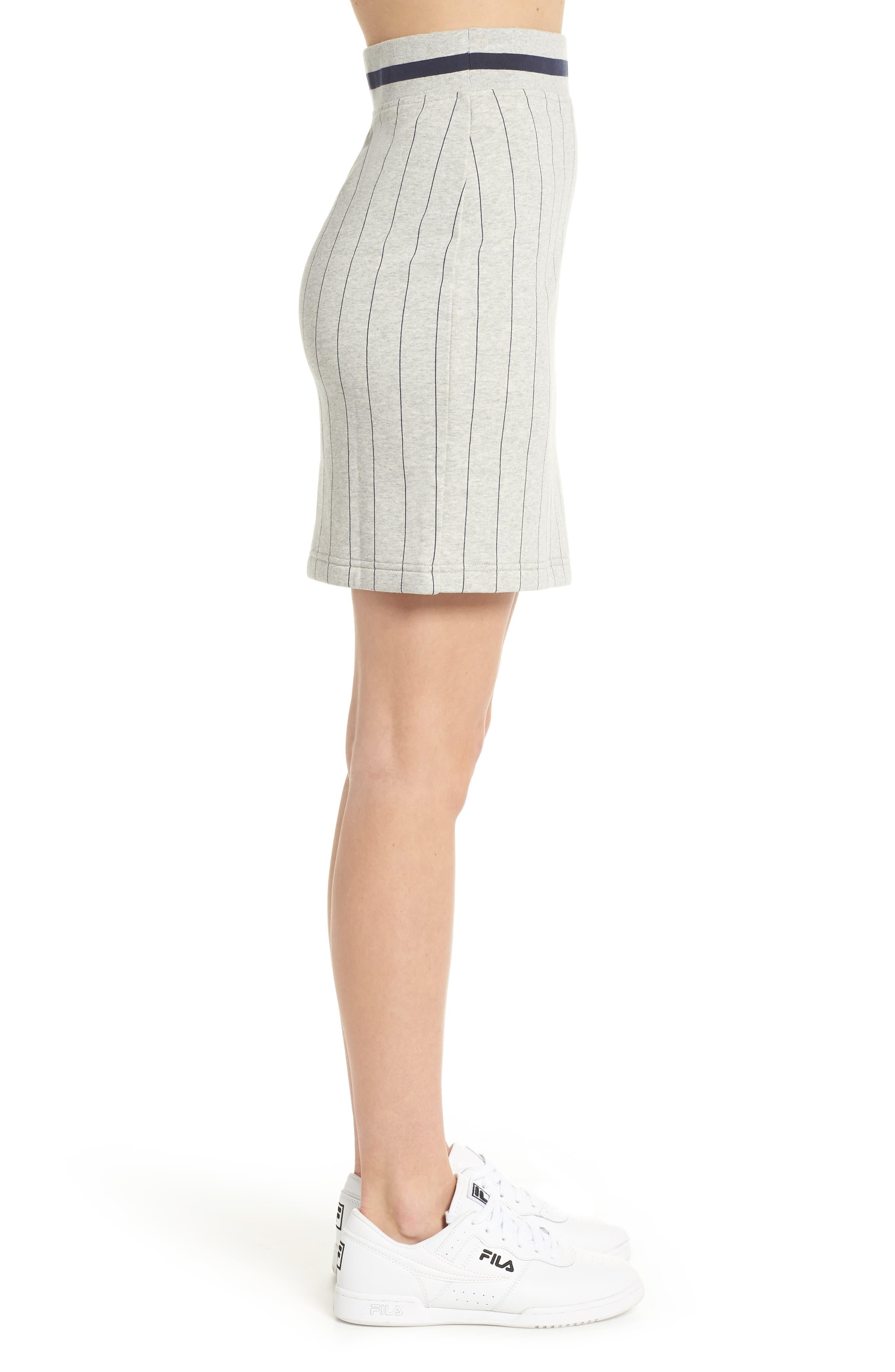 Francesca Pinstripe Skirt,                             Alternate thumbnail 4, color,                             Light Grey Marl/ Peacoat