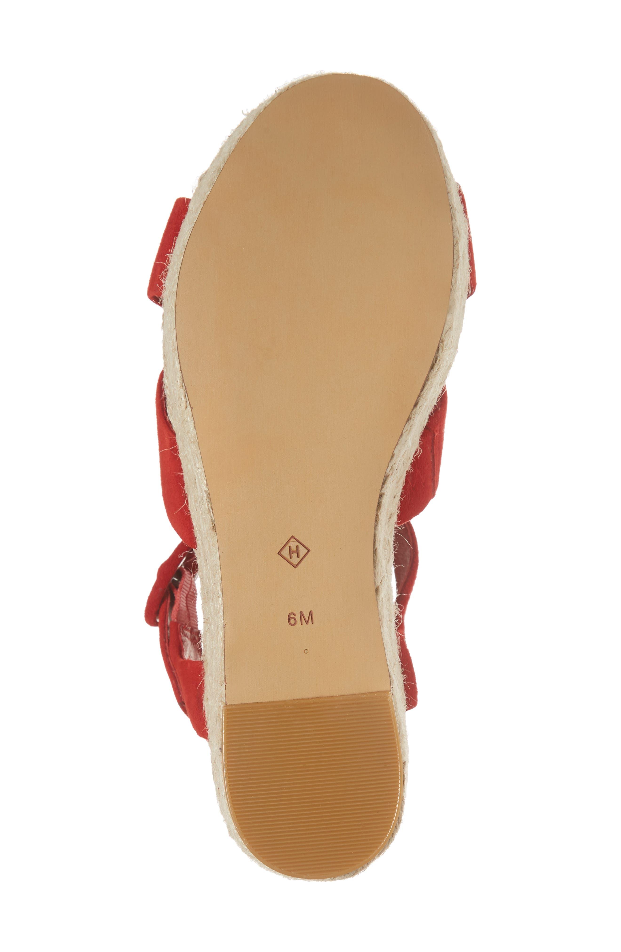 Emery Platform Espadrille Sandal,                             Alternate thumbnail 7, color,                             Red Suede