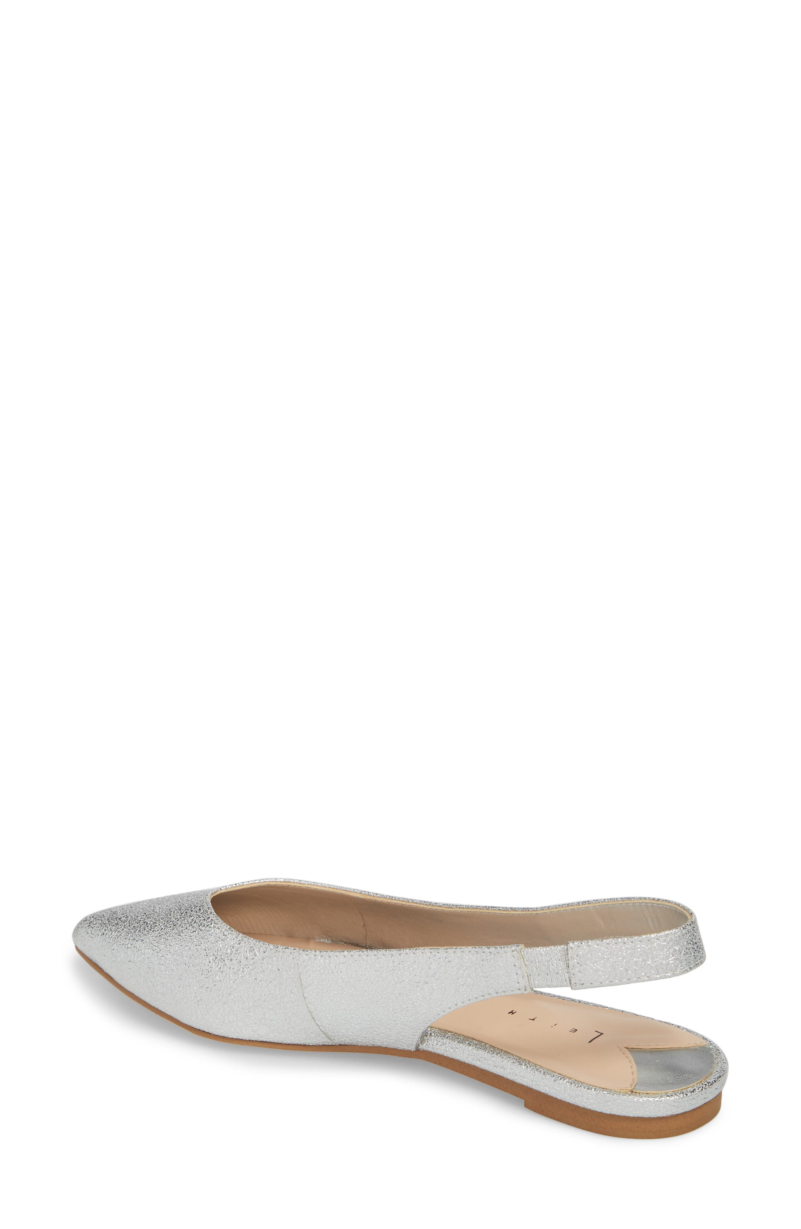 Masonn Slingback Flat,                             Alternate thumbnail 2, color,                             Silver Crackle Faux Leather