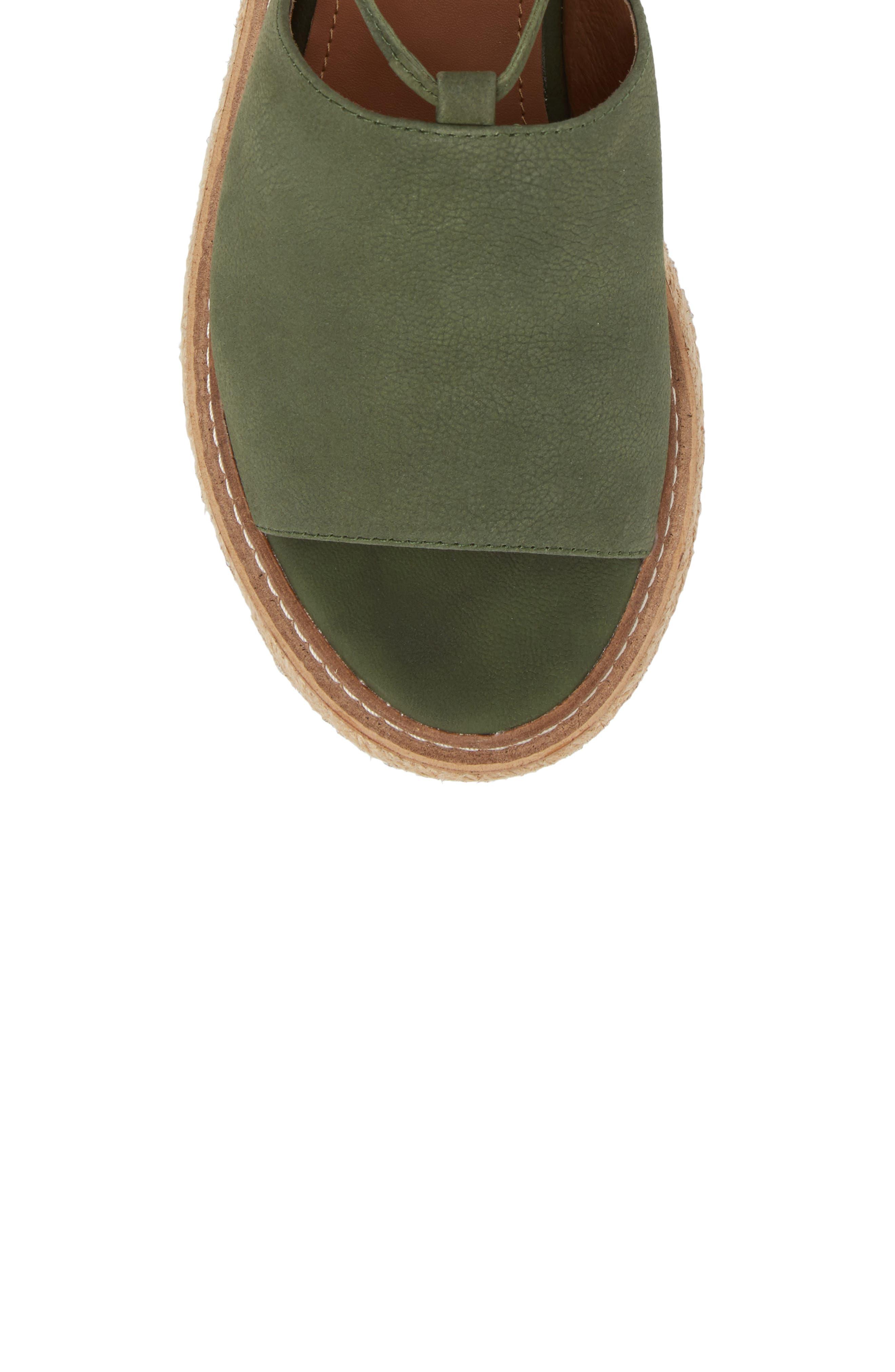 Nickel Platform Sandal,                             Alternate thumbnail 5, color,                             Khaki Nubuck Leather