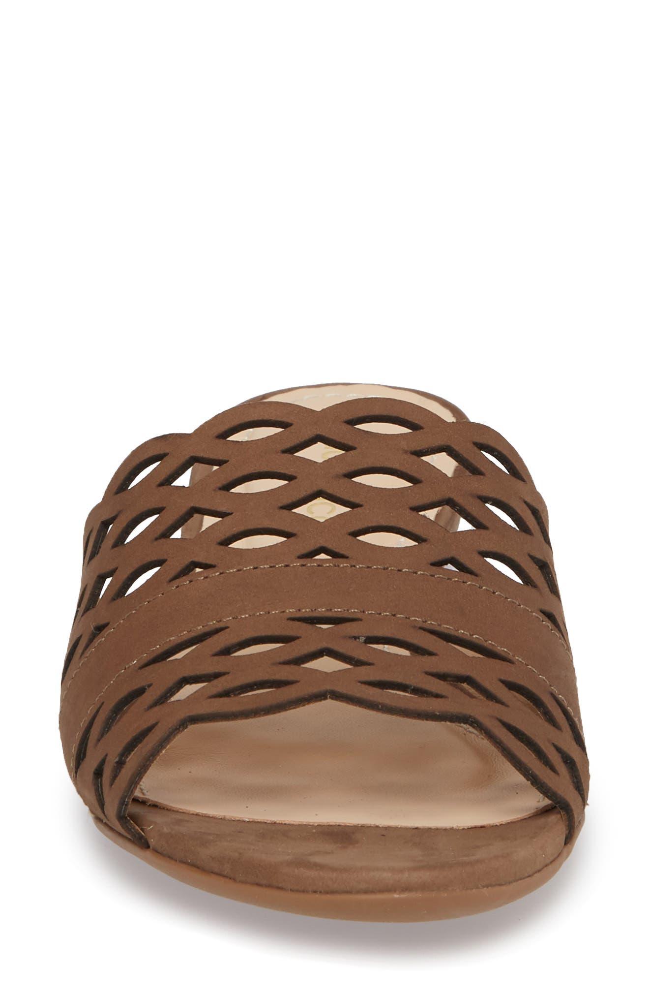 Gynne Slide Sandal,                             Alternate thumbnail 4, color,                             Truffle Leather