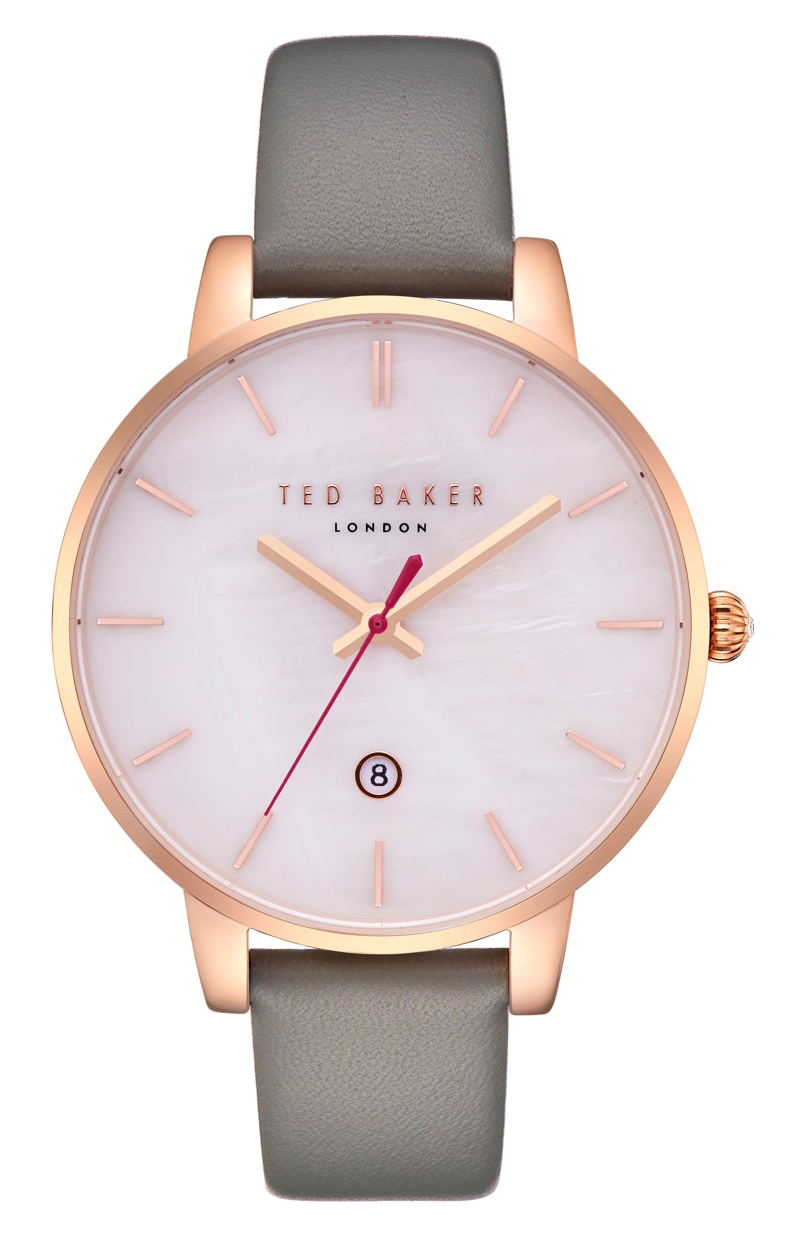 Kate Leather Strap Watch, 40mm,                             Main thumbnail 1, color,                             Grey/ Mop/ Rose Gold