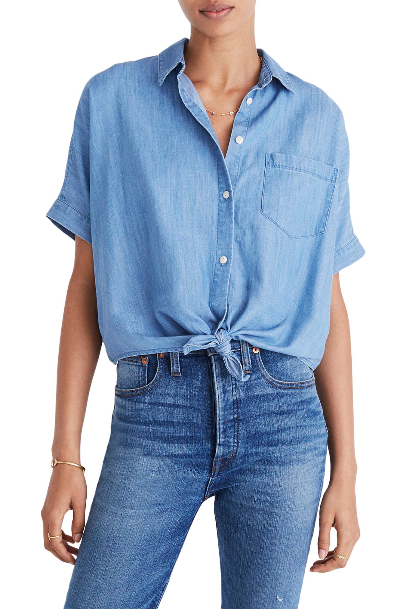 Tie Front Short Sleeve Denim Shirt,                         Main,                         color, Hillford Wash