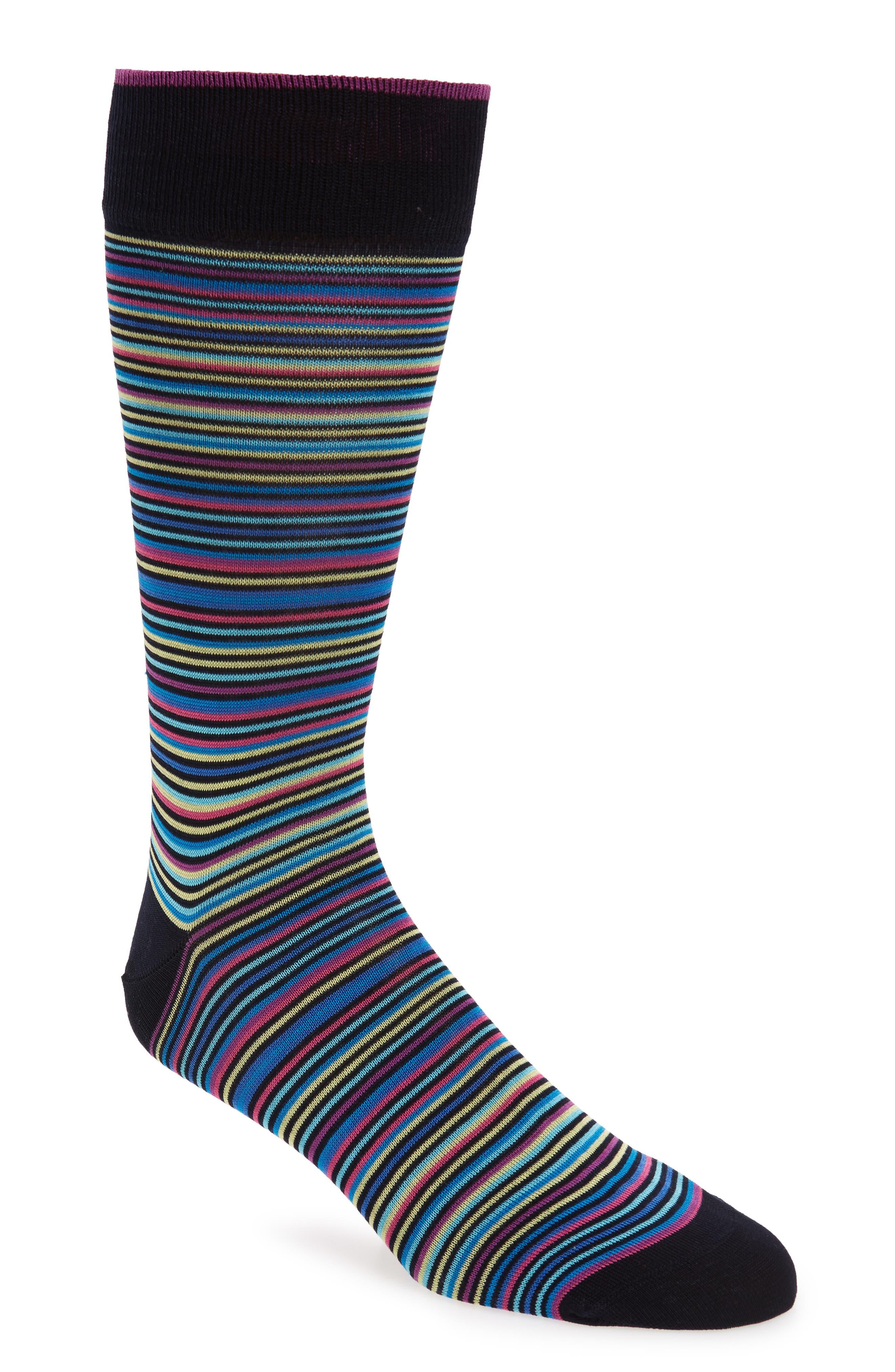 Stripe Mercerized Cotton Blend Socks,                             Main thumbnail 1, color,                             Berry