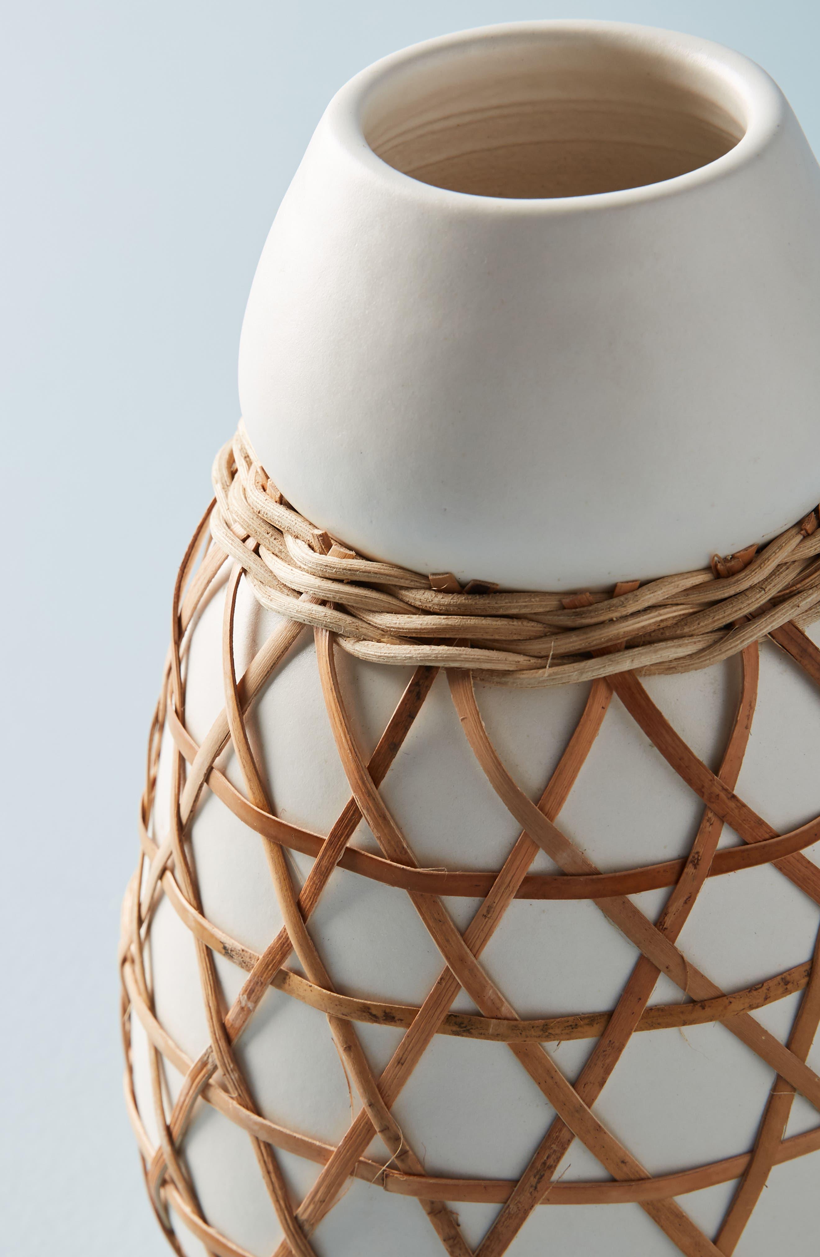 Woven Grass Vase,                             Alternate thumbnail 2, color,                             White