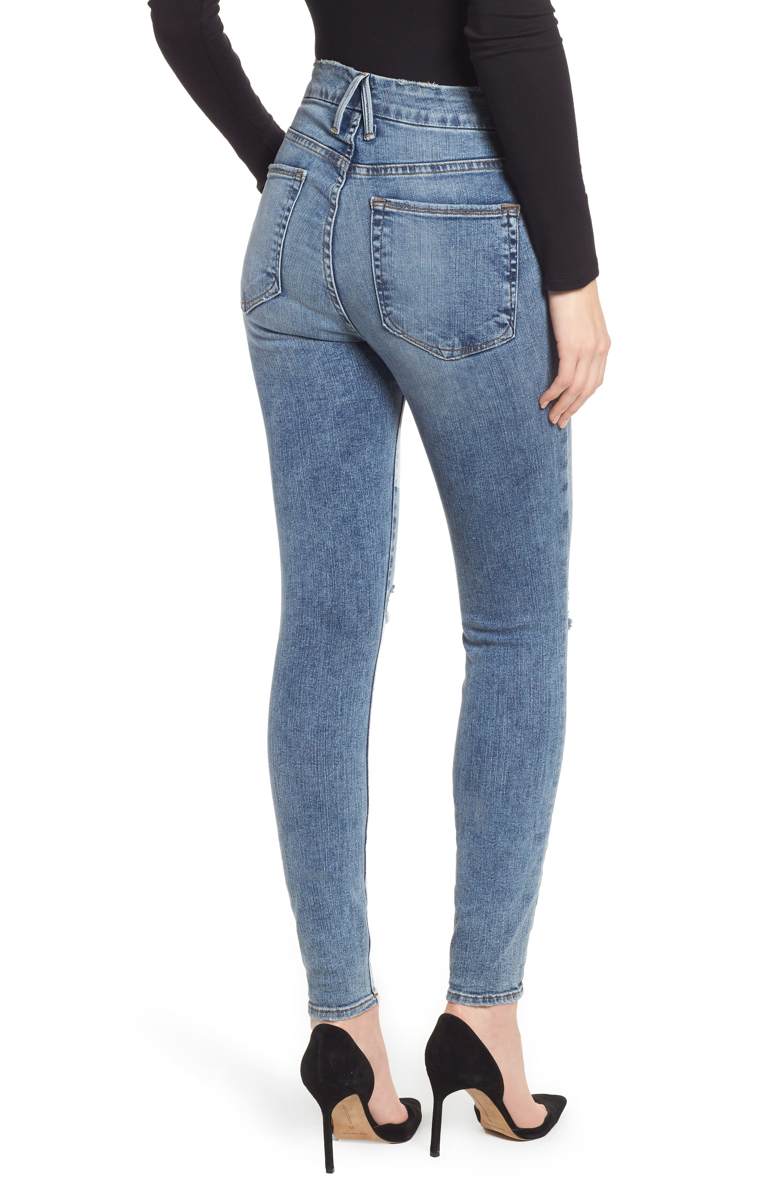 Good Legs Ripped High Waist Skinny Jeans,                             Alternate thumbnail 2, color,                             Blue129