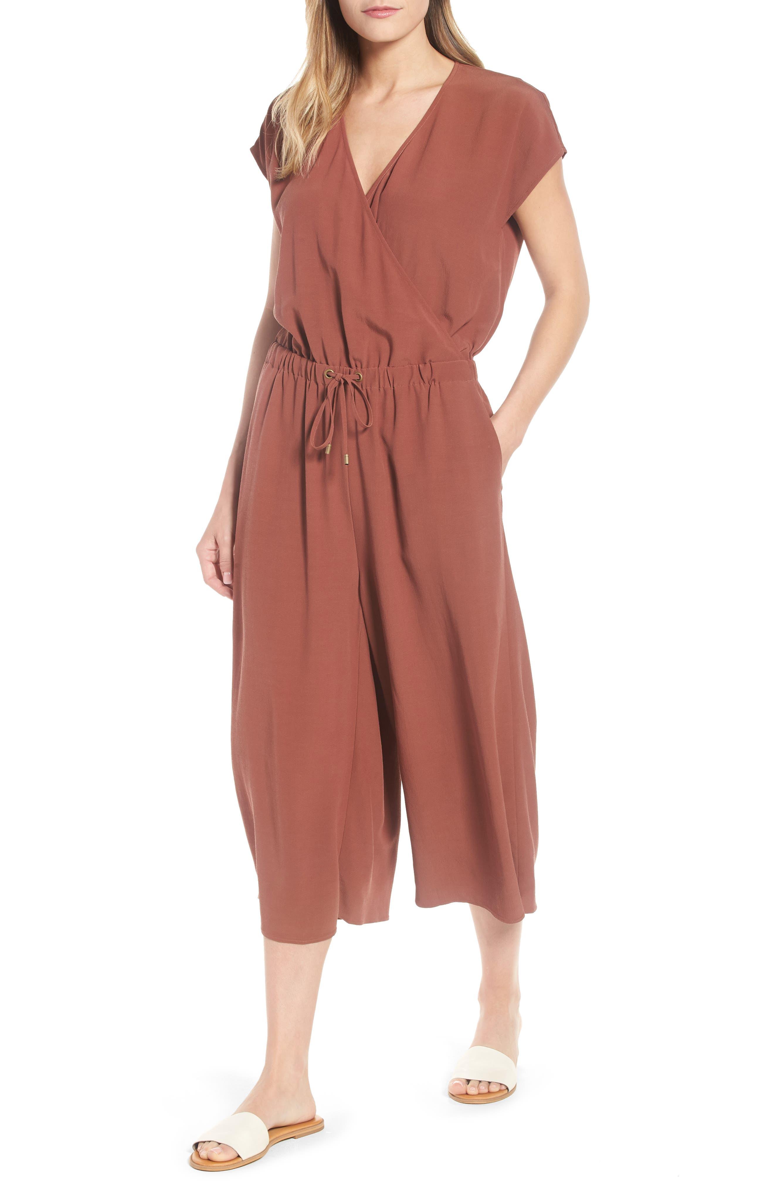 Eileen Fisher Wide Leg Crop Jumpsuit (Regular & Petite)