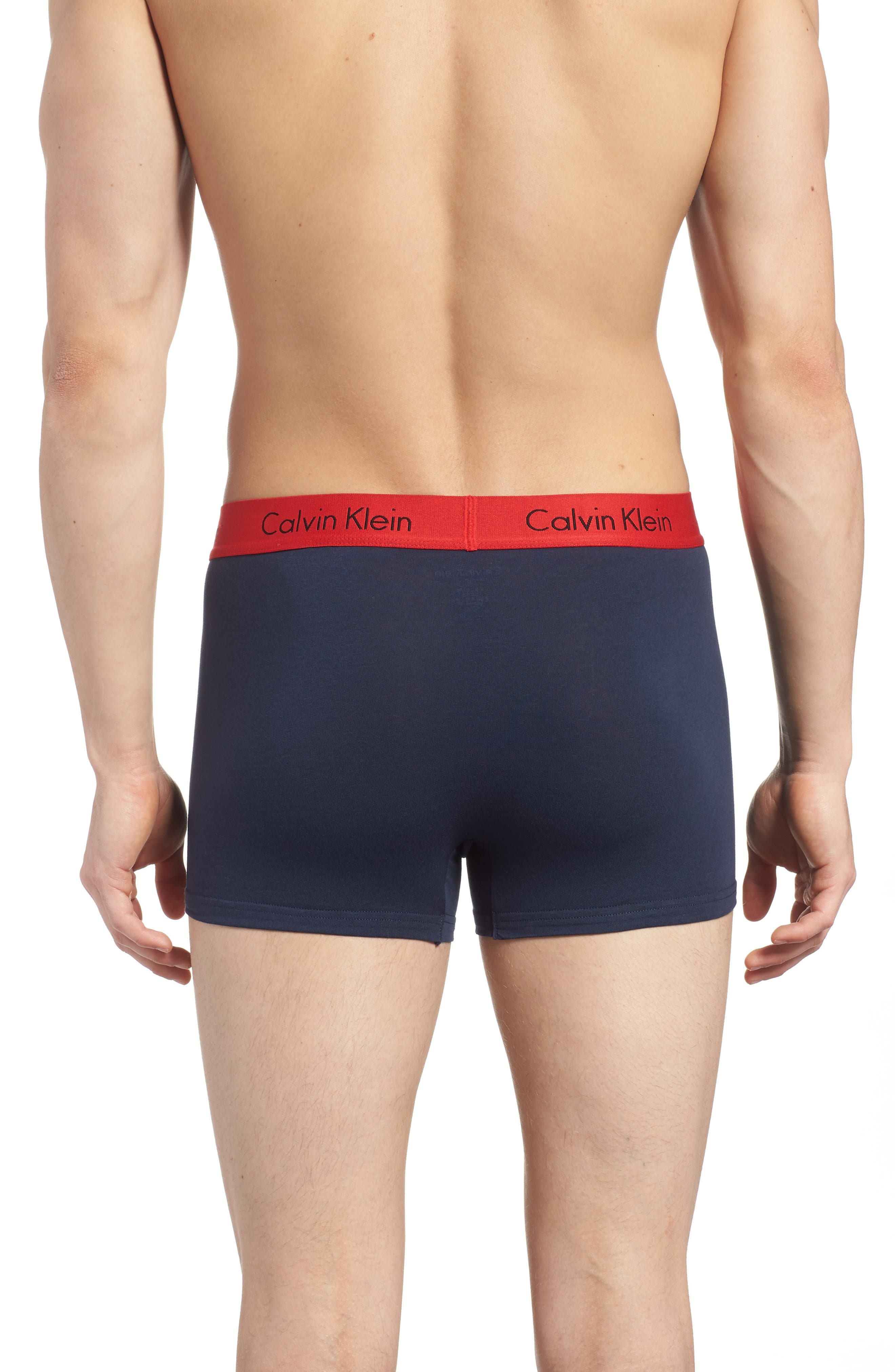 3-Pack Cotton Trunks,                             Alternate thumbnail 3, color,                             Black/ Grey/ Blue/ Red Band