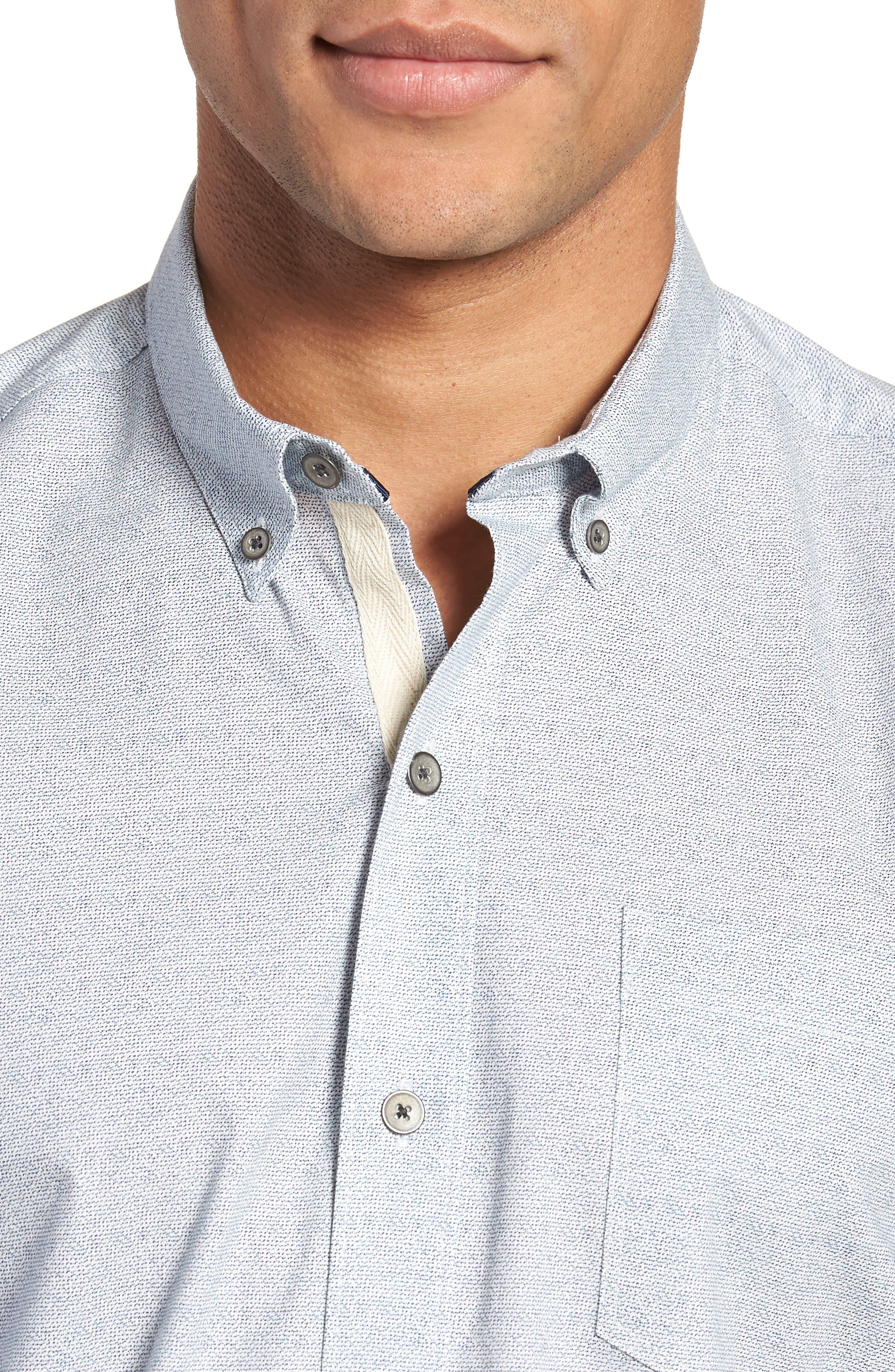 Reworked Slim Fit Speckled Sport Shirt,                             Alternate thumbnail 4, color,                             Blue