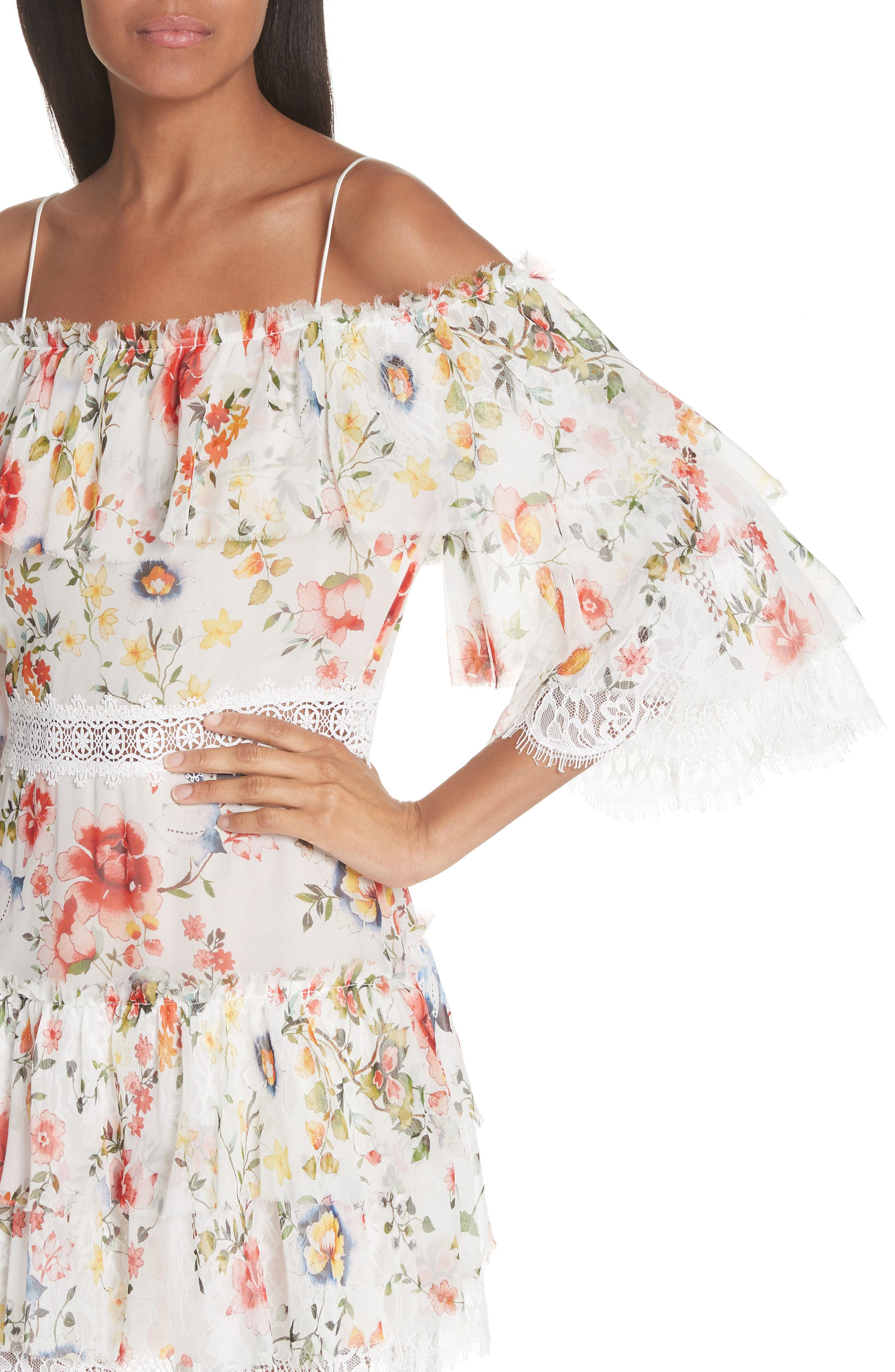 Santos Cold Shoulder Floral Silk Dress,                             Alternate thumbnail 4, color,                             Floral Soiree