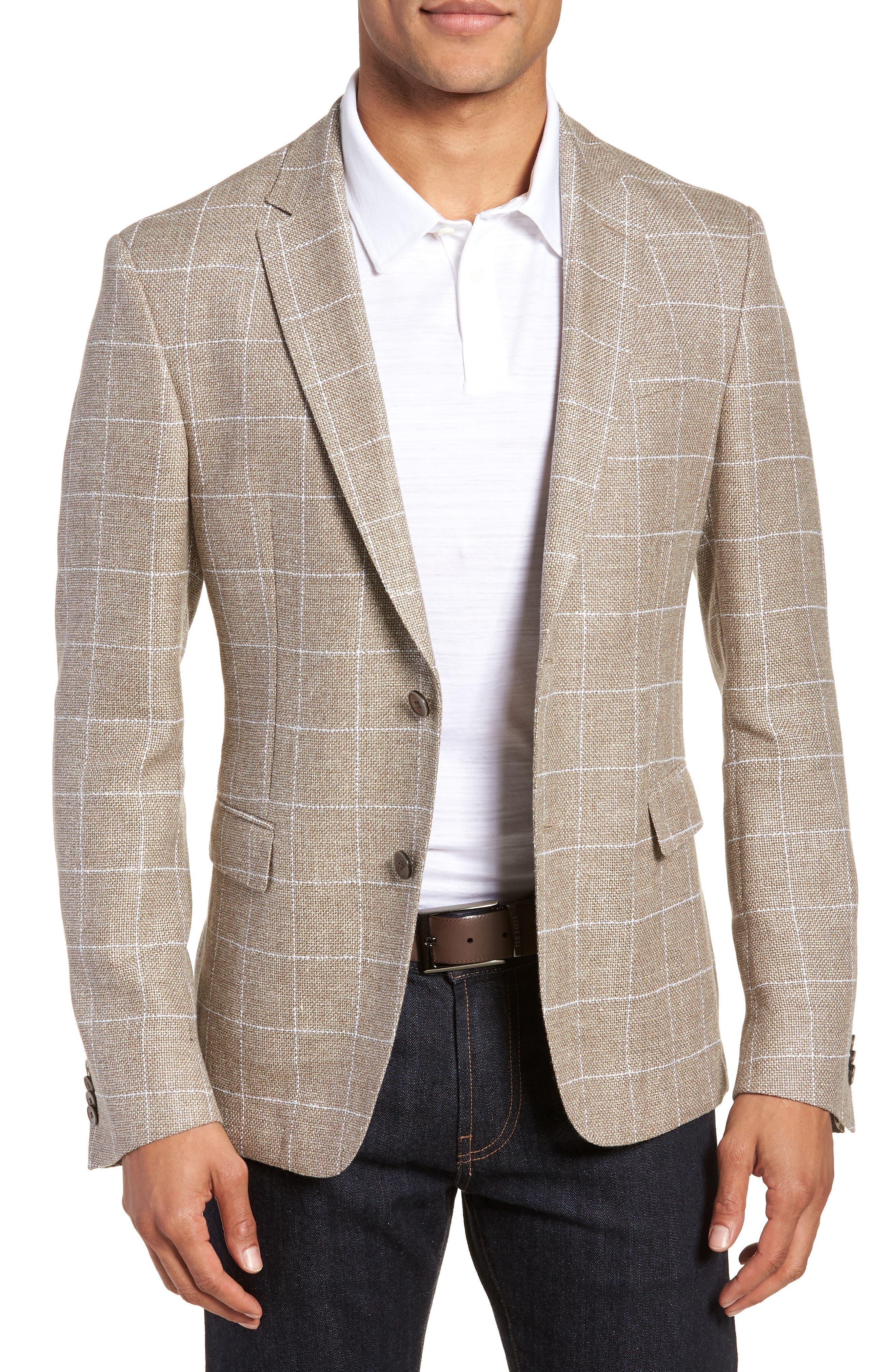 Main Image - BOSS Nobis Trim Fit Windowpane Wool & Linen Sport Coat