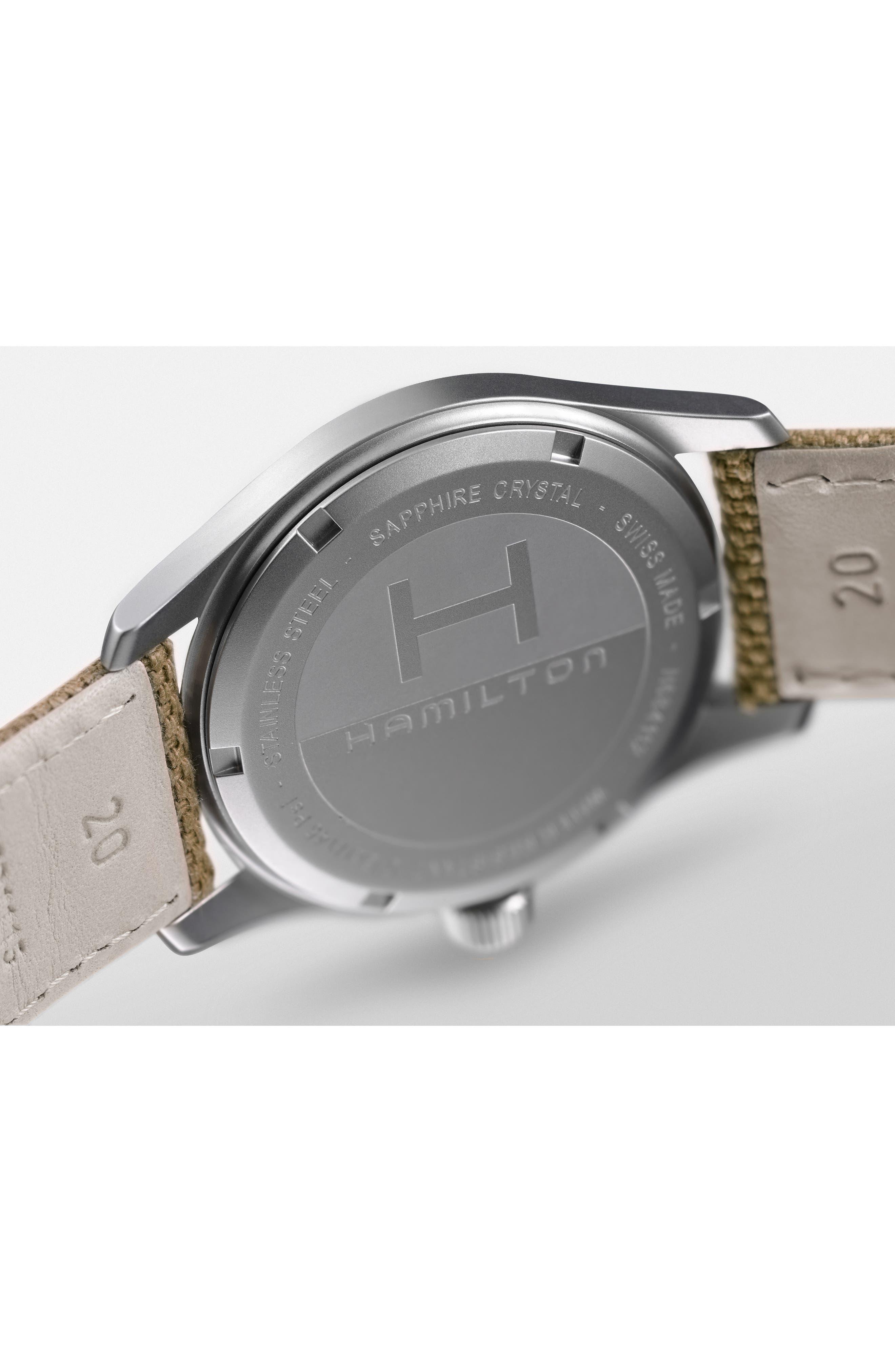 Khaki Field Canvas Strap Watch, 38mm,                             Alternate thumbnail 4, color,                             Beige/ Brown/ Silver