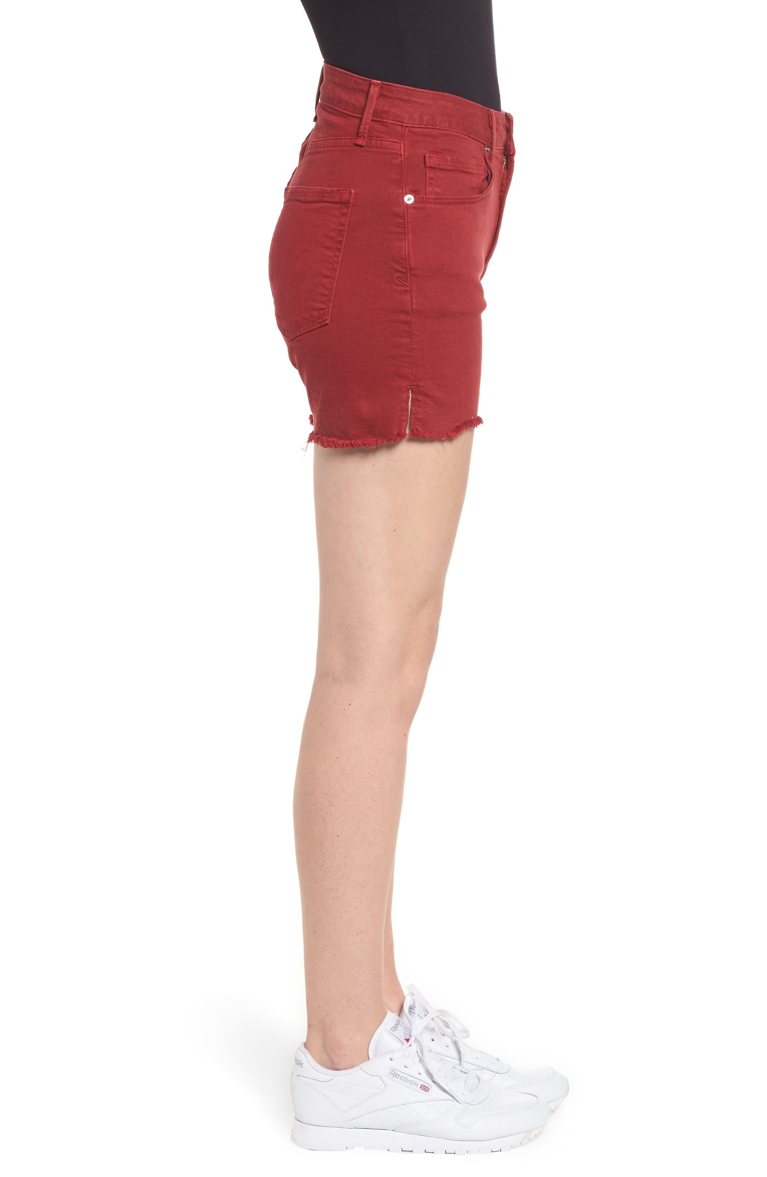 High Waist Cutoff Shorts,                             Alternate thumbnail 3, color,                             Red