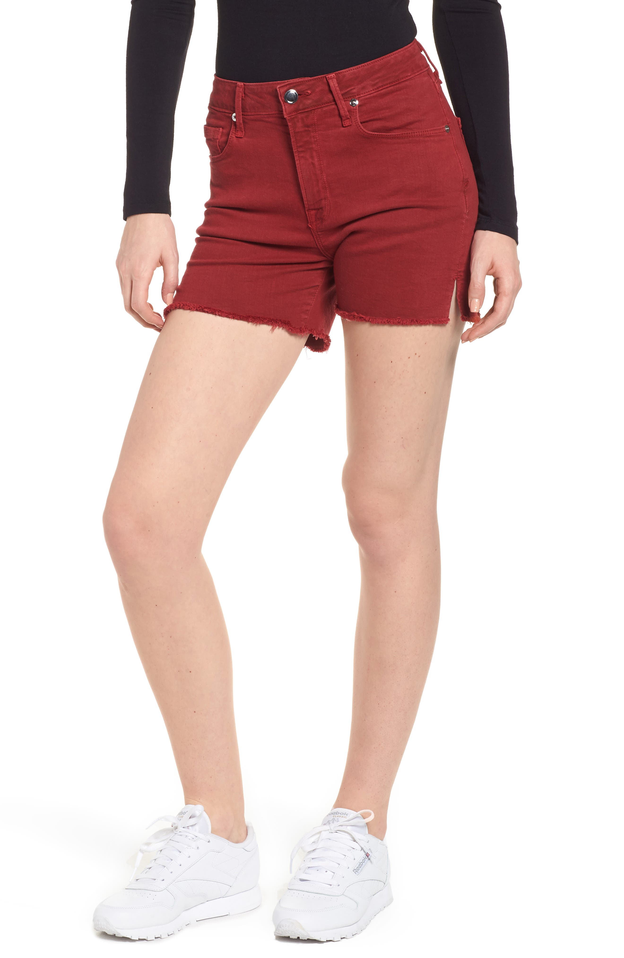 High Waist Cutoff Shorts,                         Main,                         color, Red