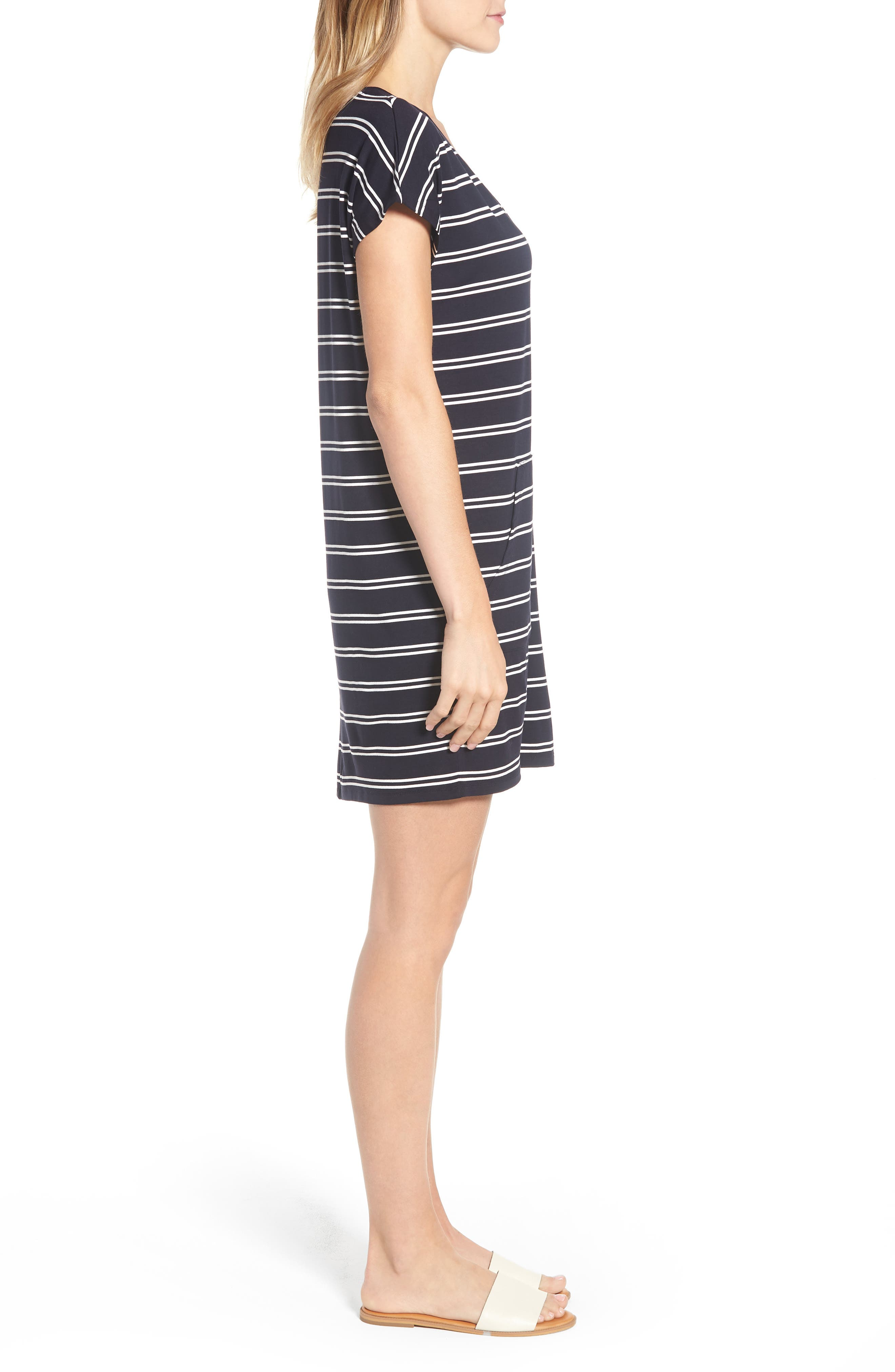 Stripe T-Shirt Dress,                             Alternate thumbnail 3, color,                             Deepest Navy White