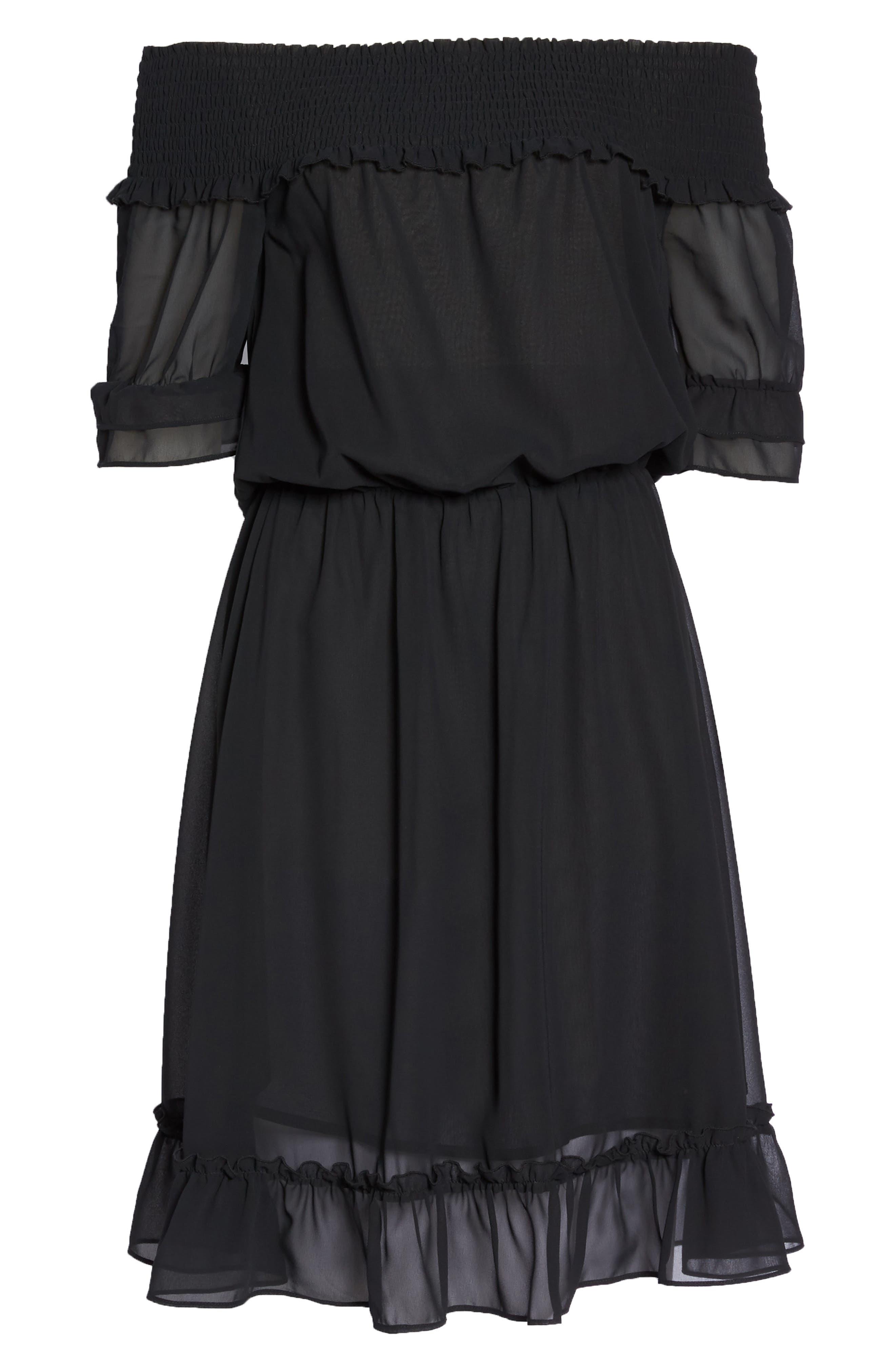 Off The Shoulder Ruffle Hem Dress,                             Alternate thumbnail 7, color,                             Black
