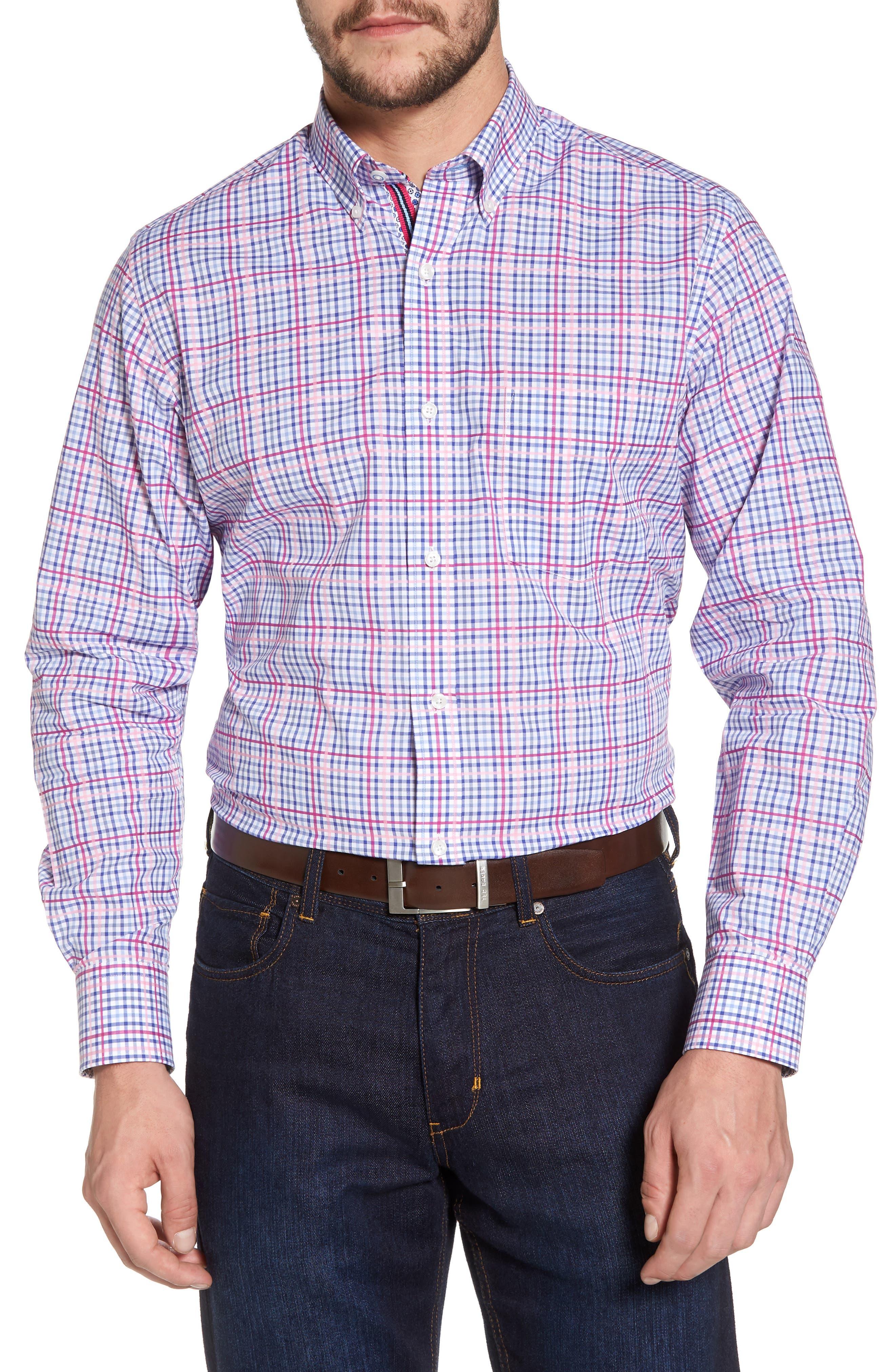 Aidren Regular Fit Plaid Sport Shirt,                         Main,                         color, Pink