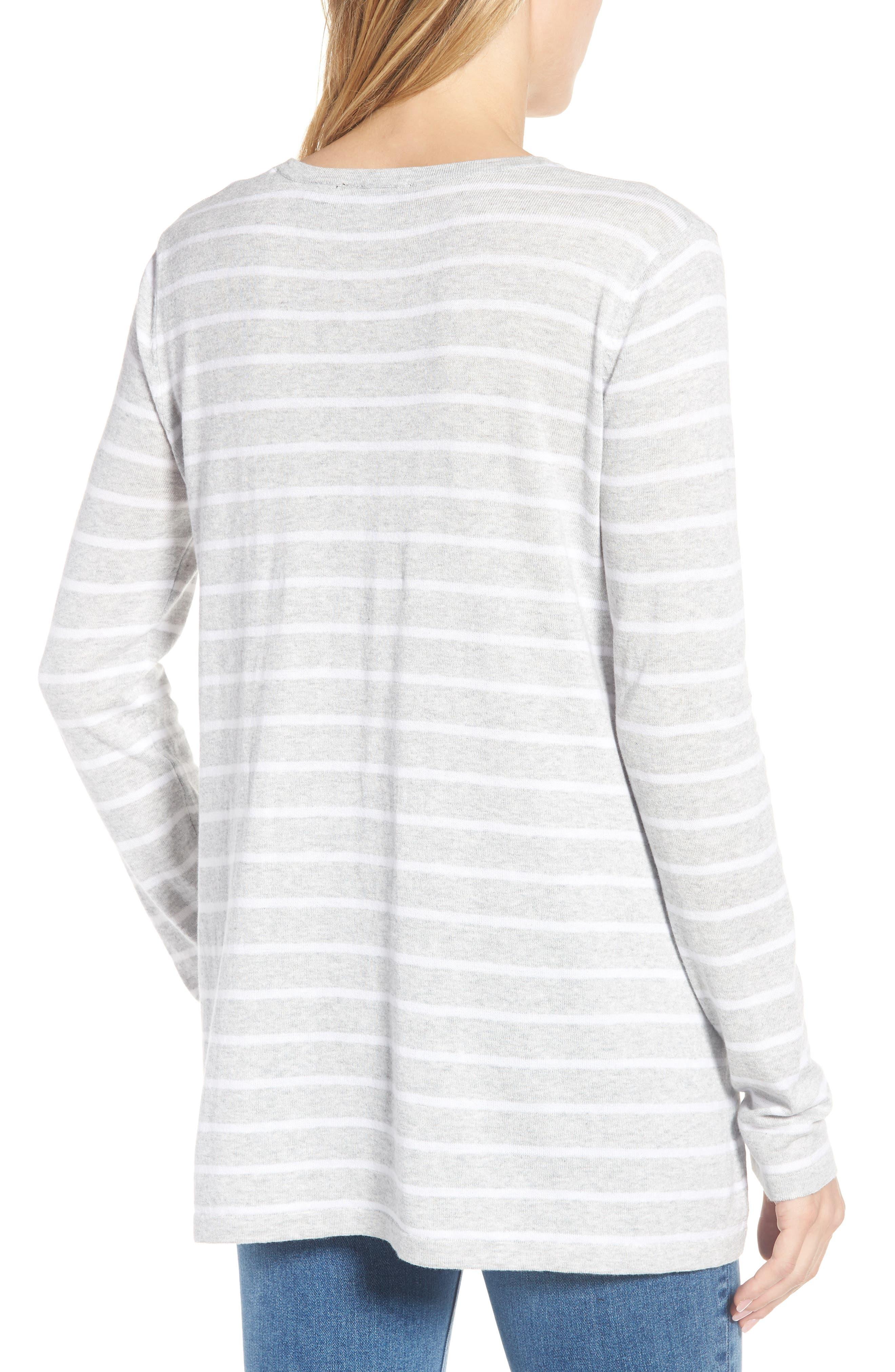 Cotton Blend Stripe Trapeze Cotton Blend Sweater,                             Alternate thumbnail 2, color,                             Pebble Grey Mix Warm White