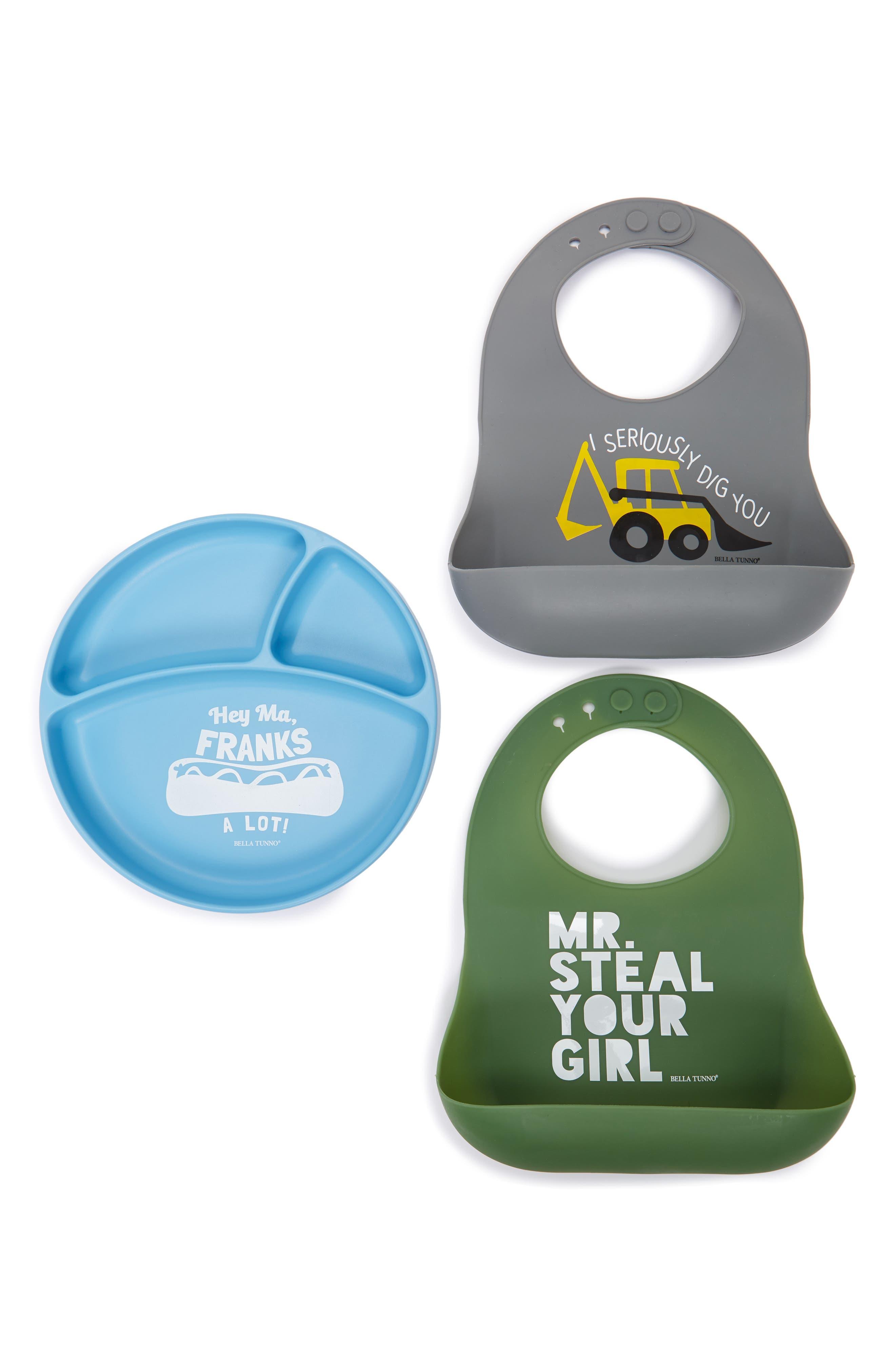 Bella Tunno Plate & 2-Pack Wonder Bib Set (Baby Boys)