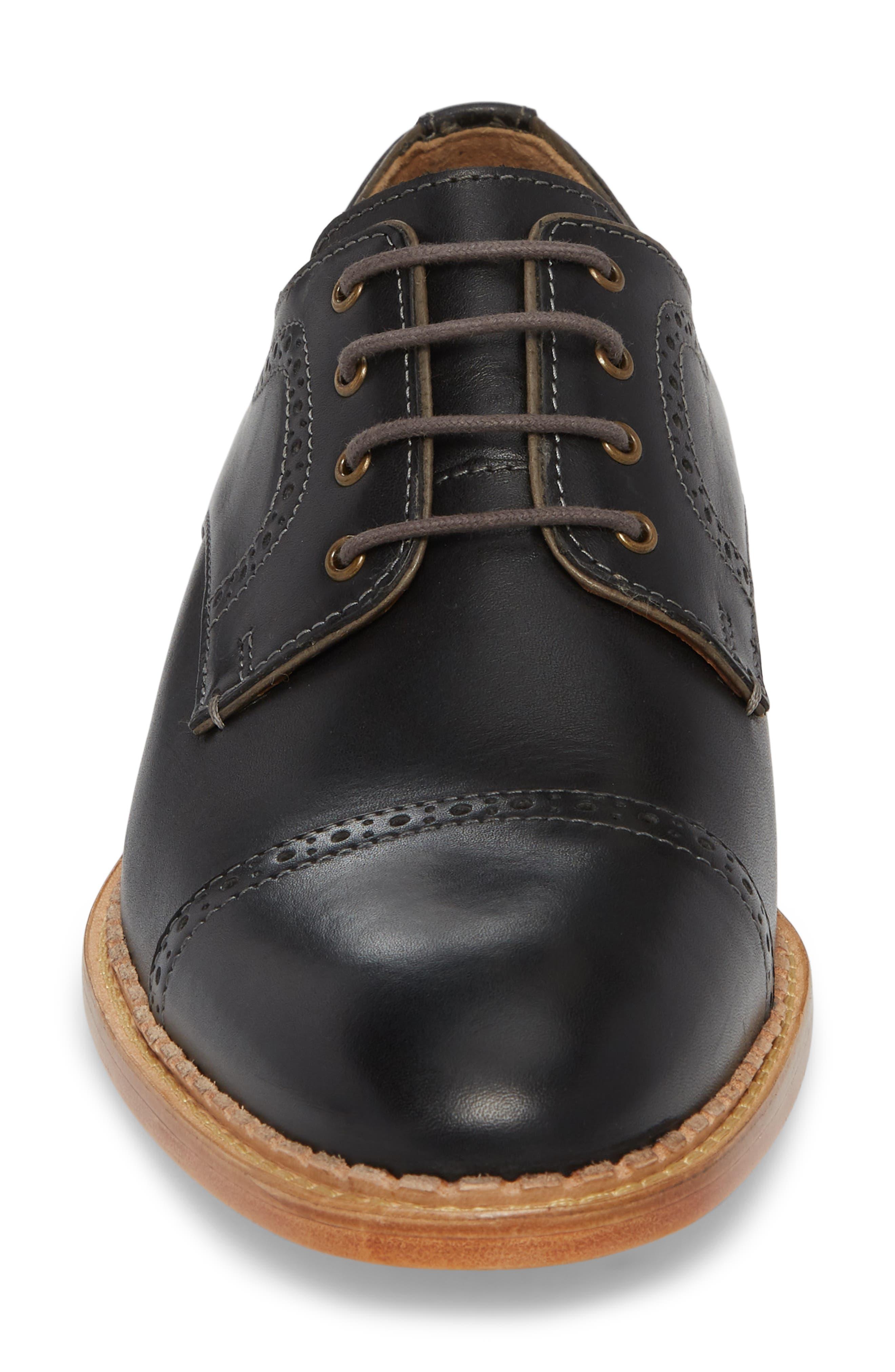 Chambliss Cap Toe Derby,                             Alternate thumbnail 4, color,                             Black Leather