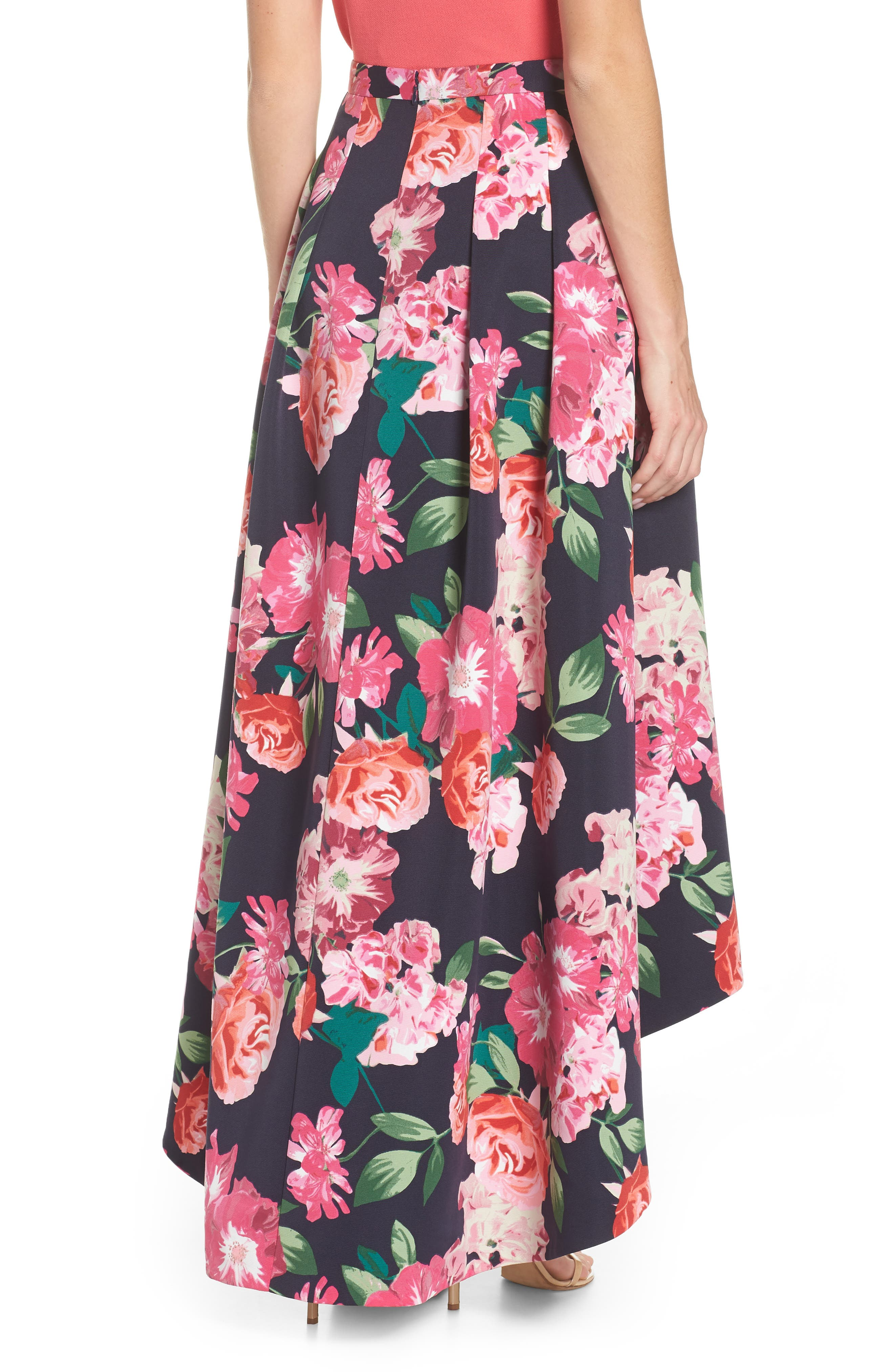 Floral High/Low Skirt,                             Alternate thumbnail 3, color,                             Navy/ Pink