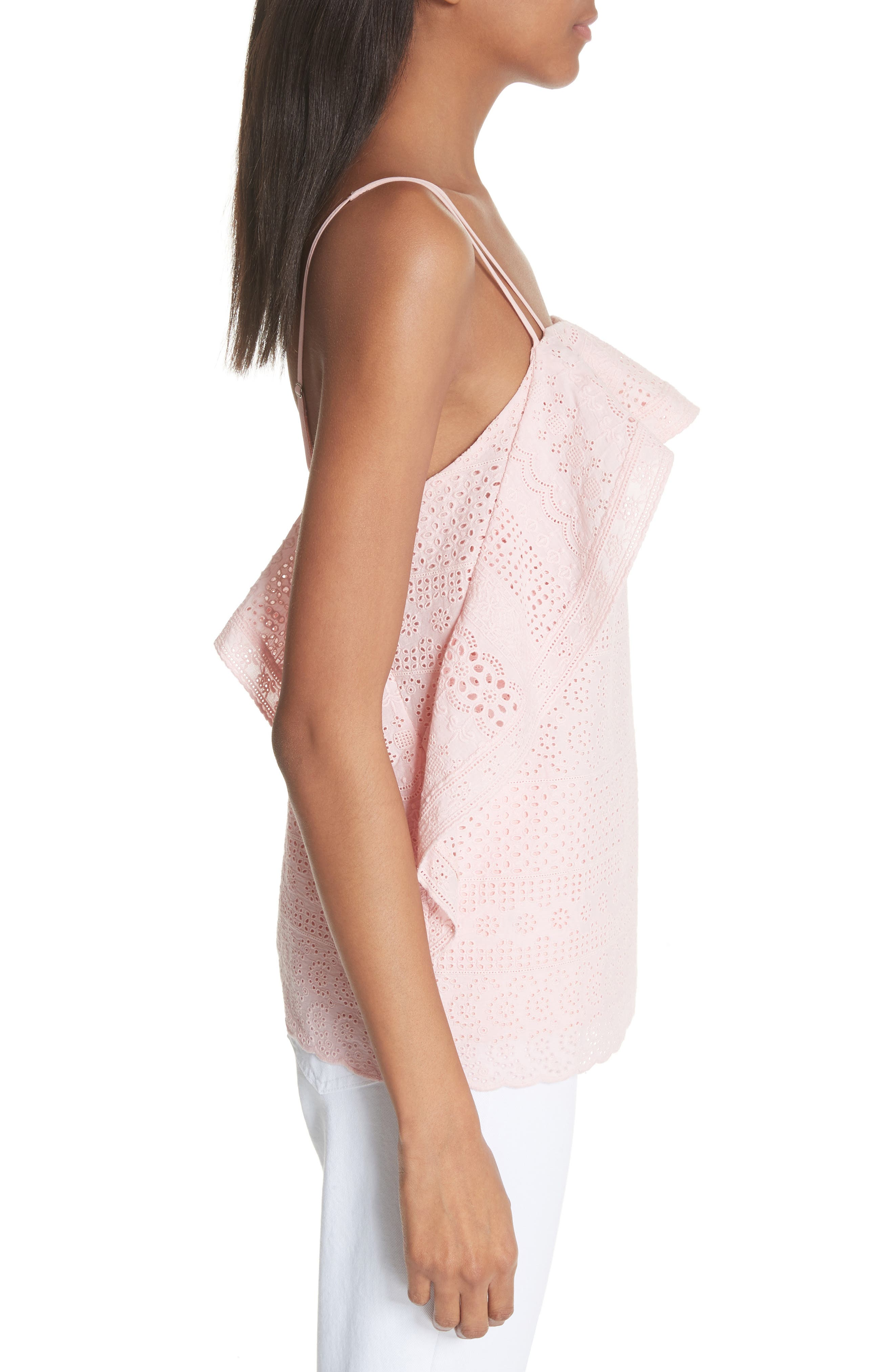 Deconstructed Broderie Top,                             Alternate thumbnail 3, color,                             Pink