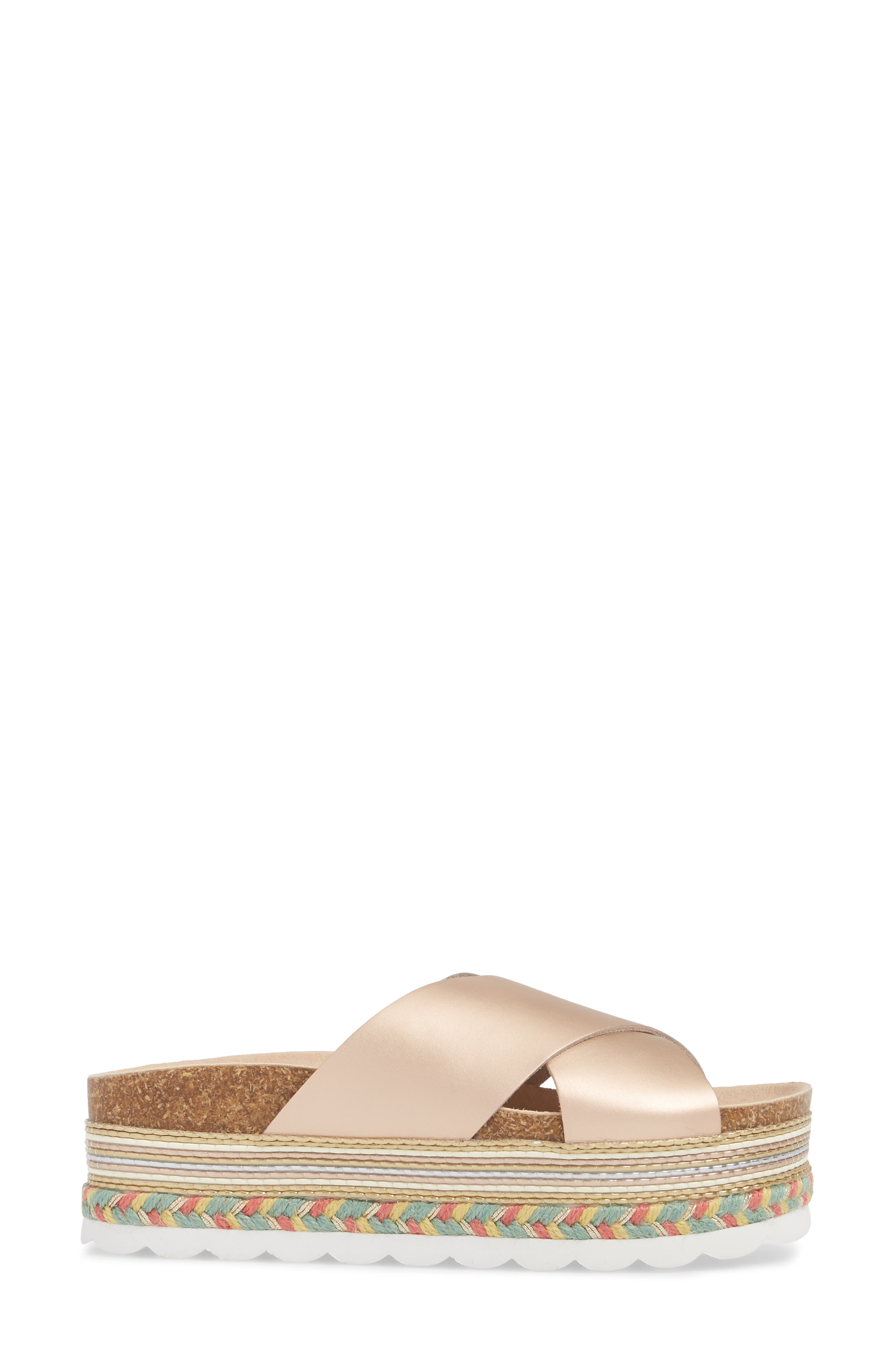 Torri Platform Slide Sandal,                             Alternate thumbnail 3, color,                             Rose Gold Leather