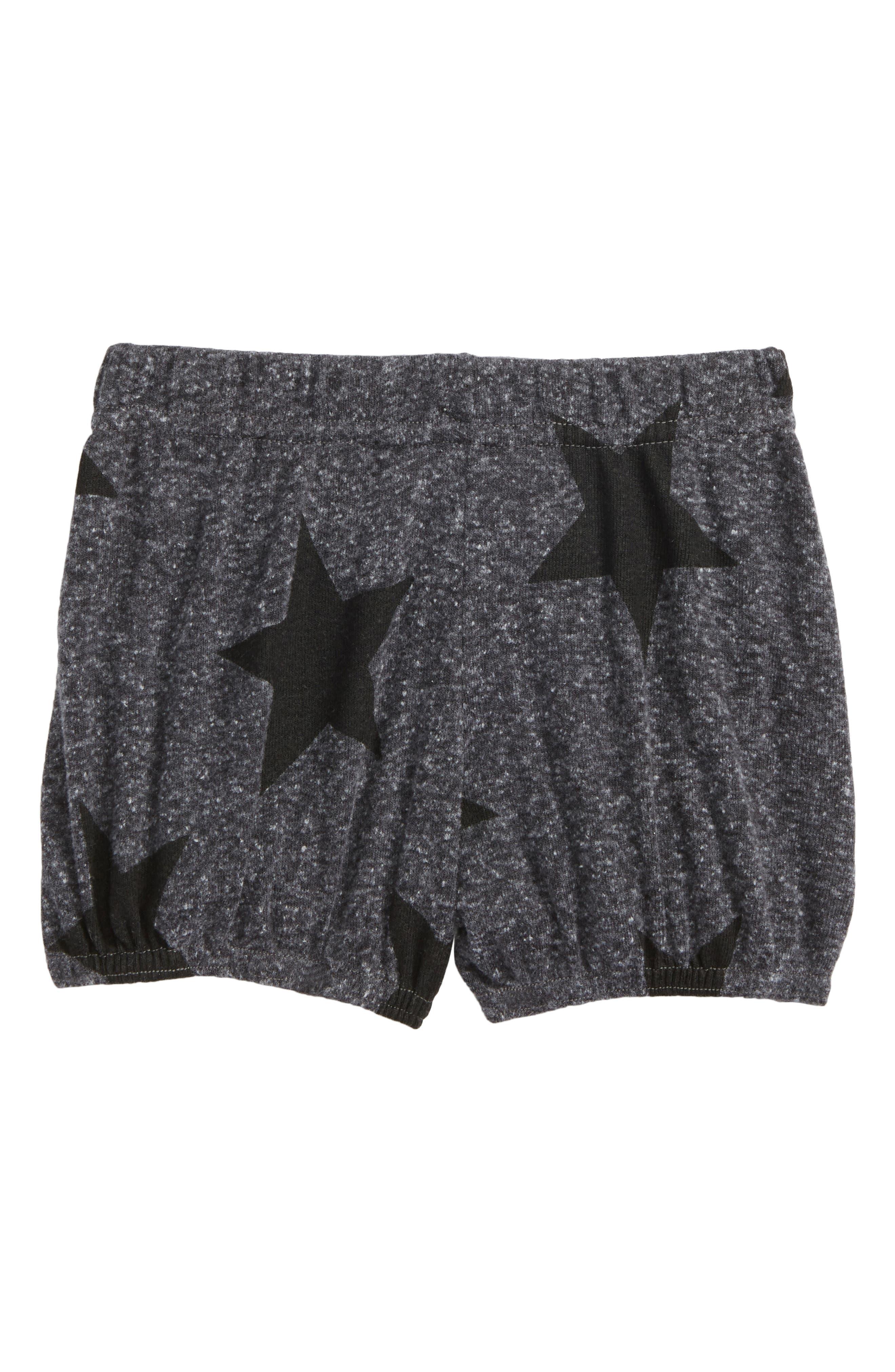 Star Print Yoga Shorts,                             Main thumbnail 1, color,                             Charcoal