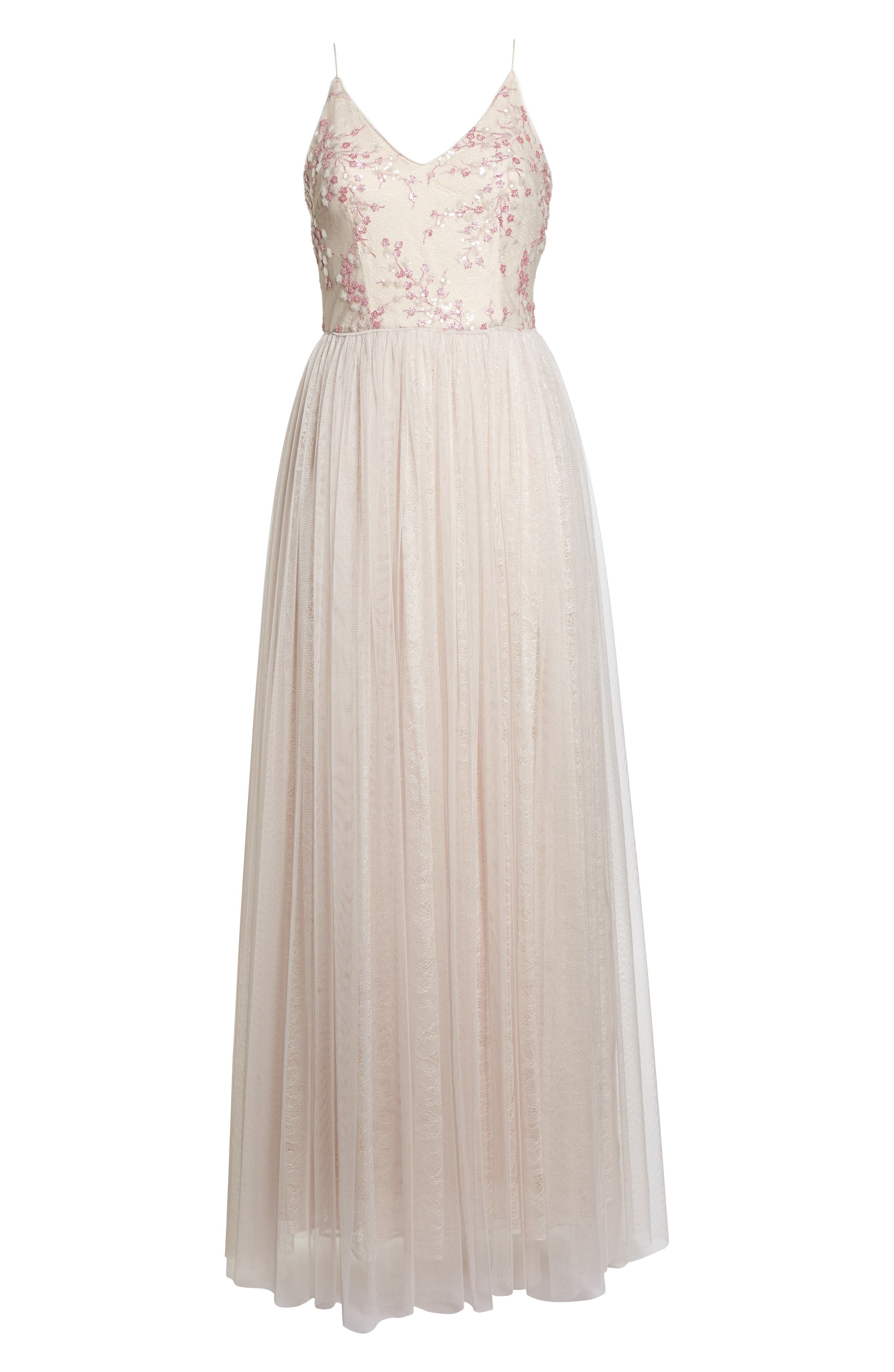 Embellished Bodice Tulle Gown,                             Alternate thumbnail 6, color,                             Pink