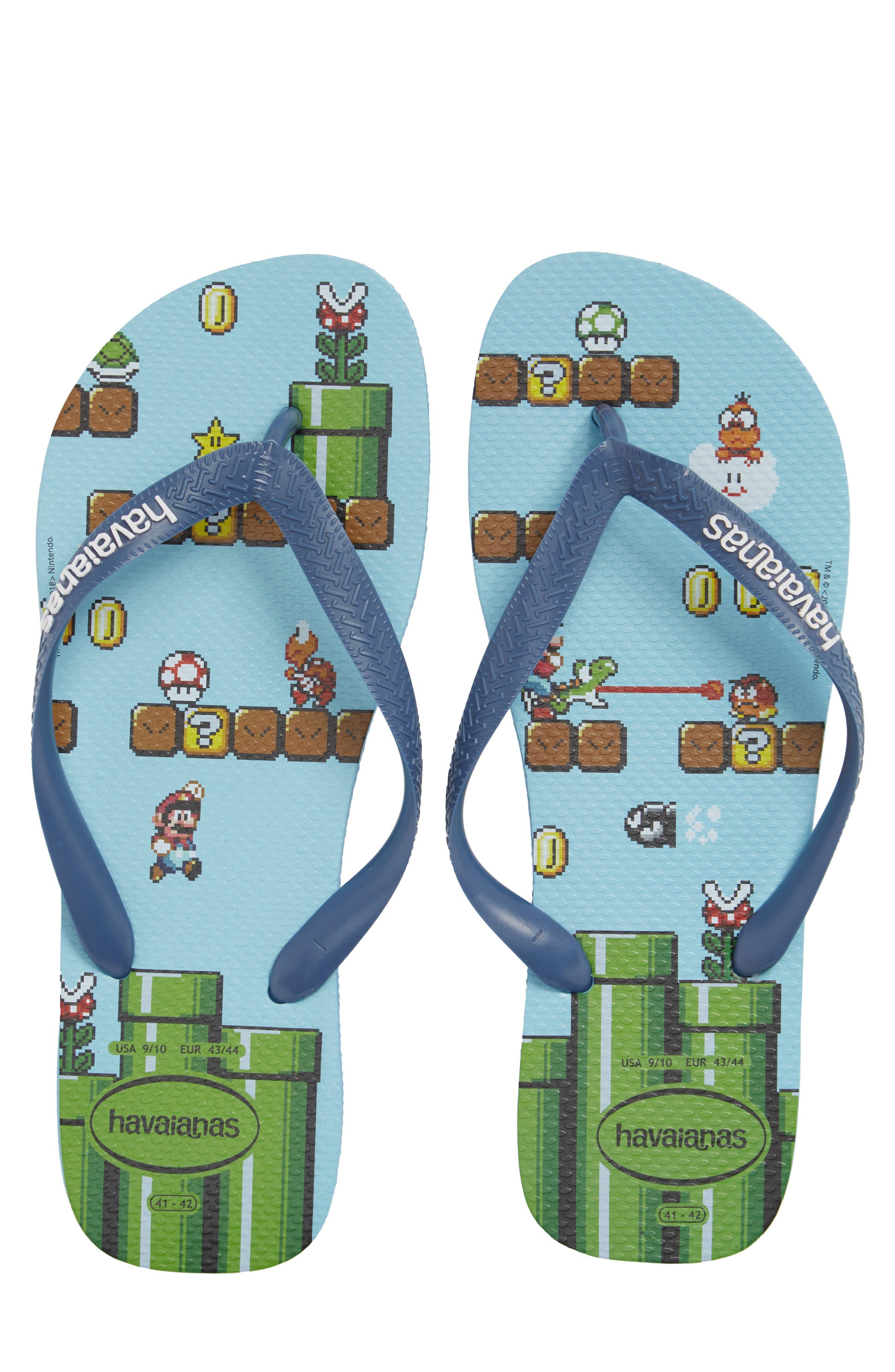 Mario Bros. Flip Flop,                             Main thumbnail 1, color,                             Blue Splash