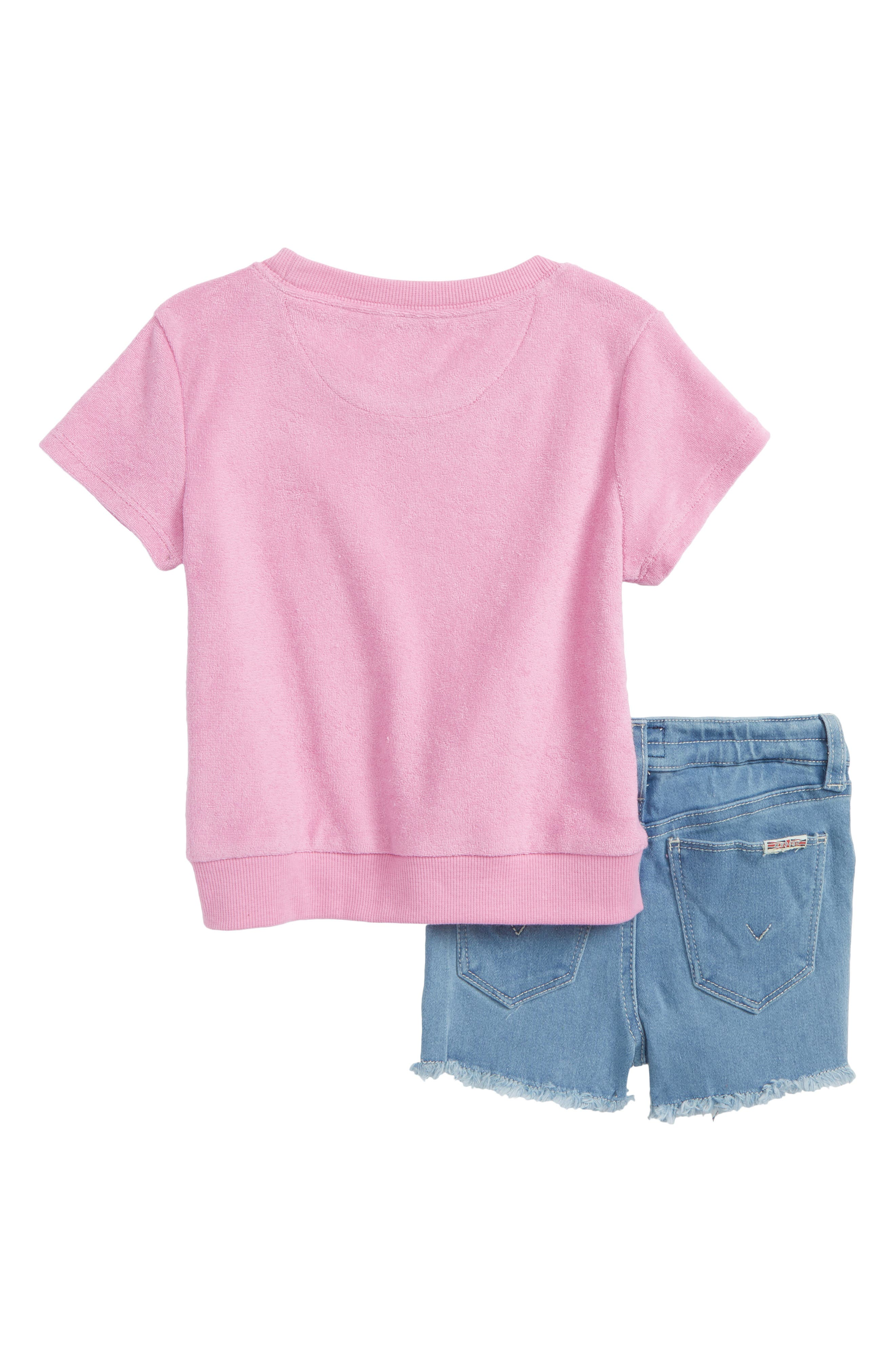 French Terry Tee & Shorts Set,                             Alternate thumbnail 2, color,                             Light Blue