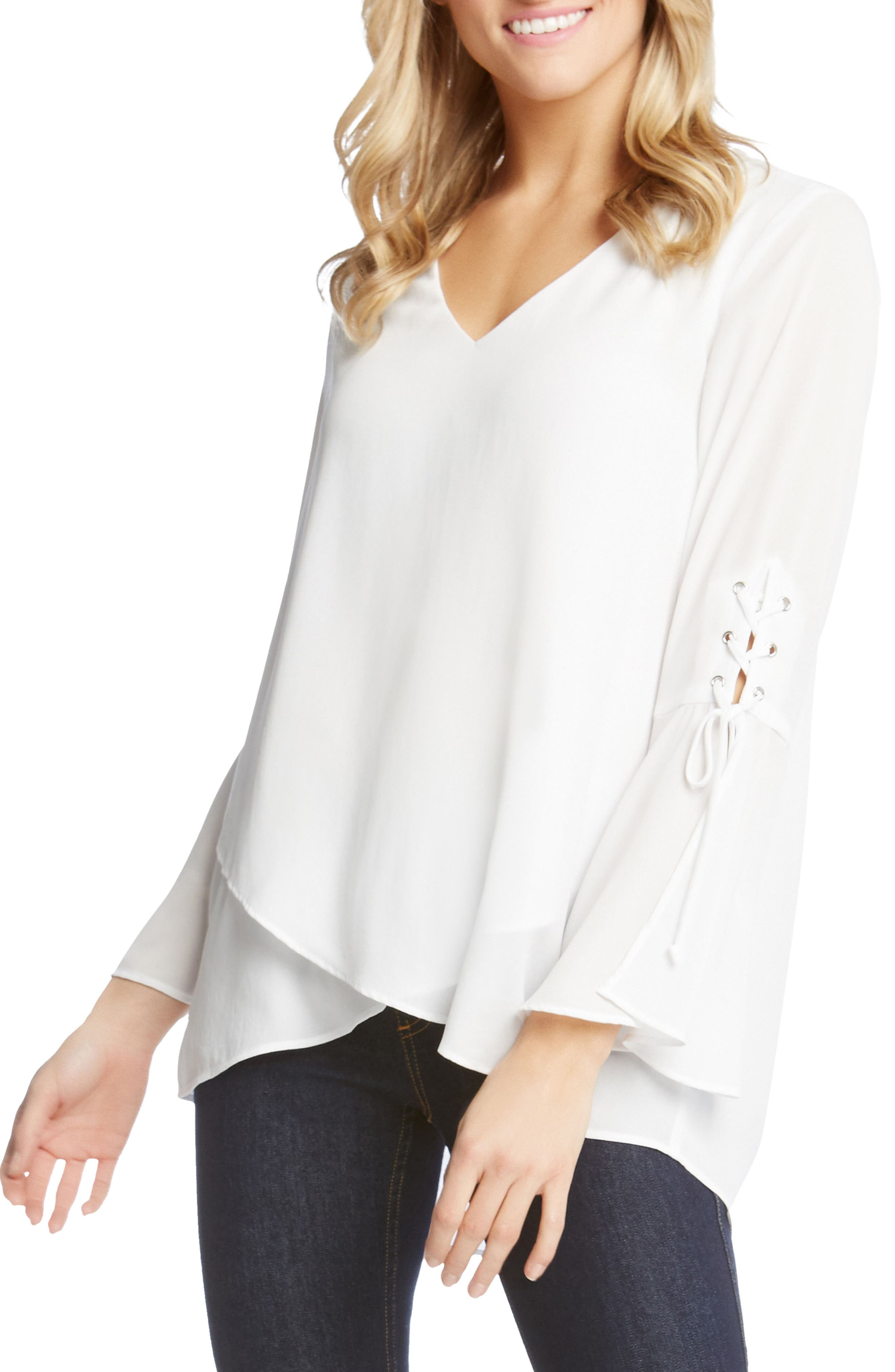 Split Front Tie-Sleeve Top,                             Alternate thumbnail 3, color,                             Off White