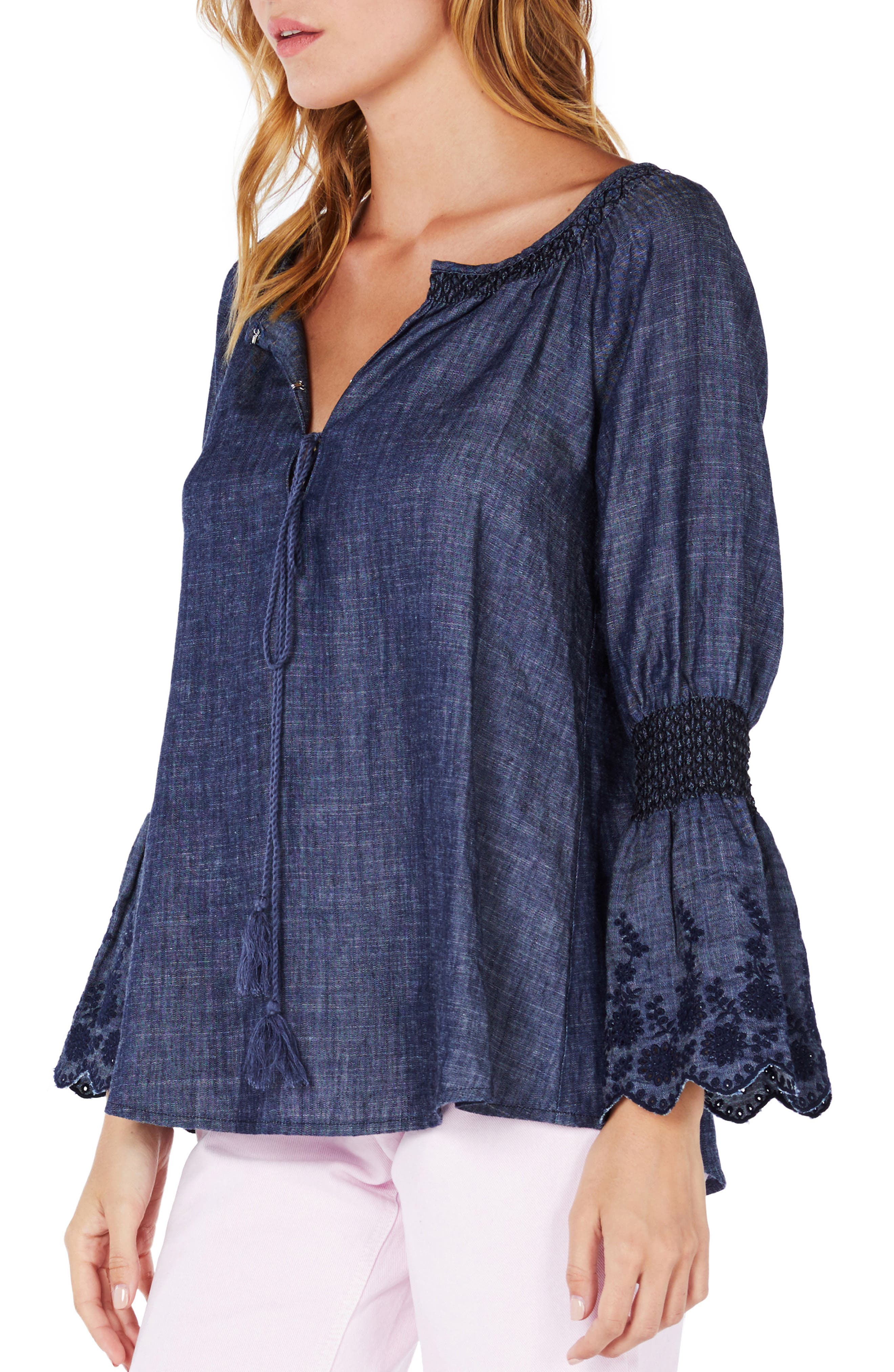 Frilled Sleeve Peasant Top,                             Alternate thumbnail 3, color,                             Distressed