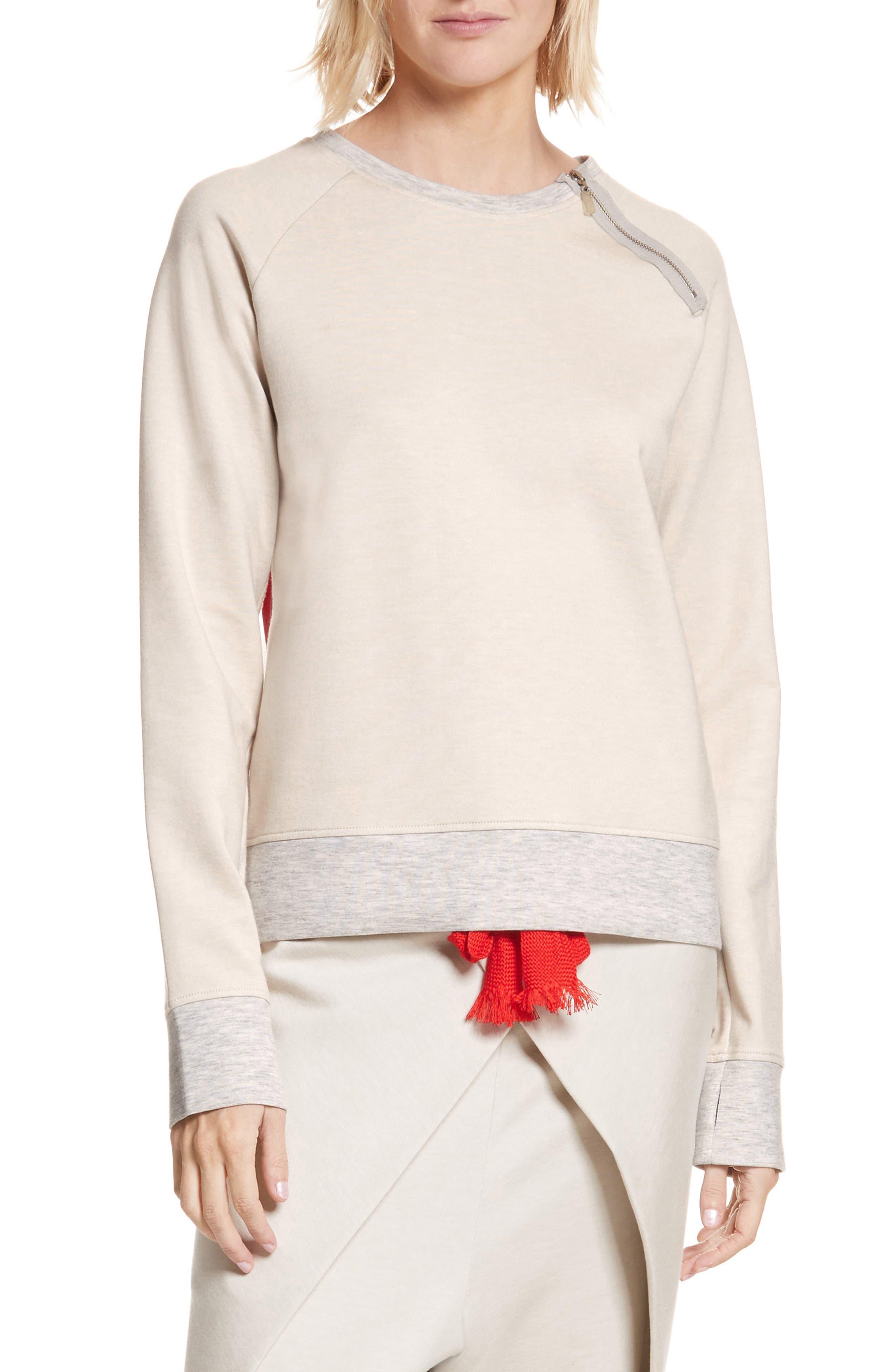 Zip Combo Sweatshirt,                         Main,                         color, Oatmeal/ Red