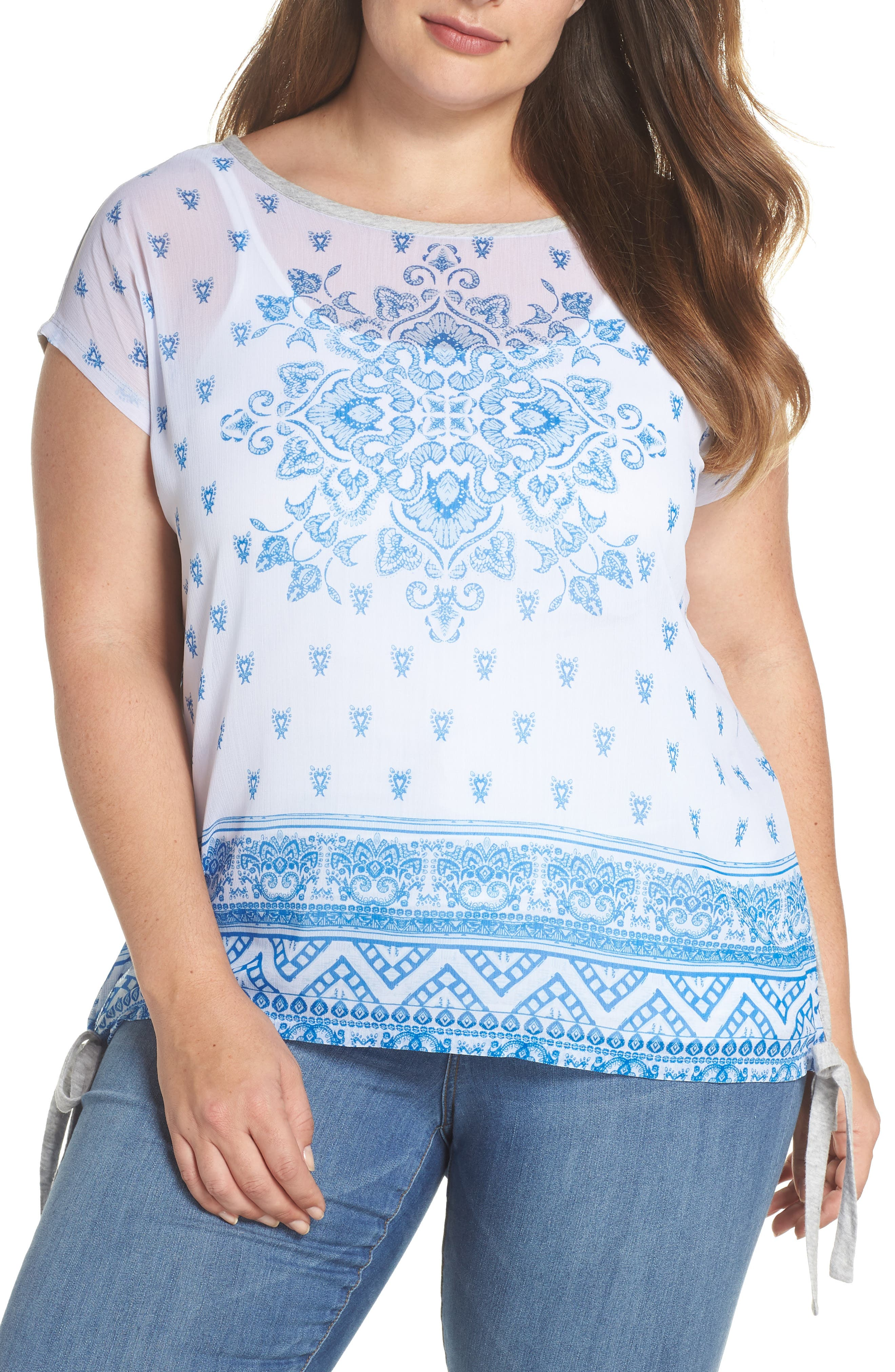 Side Tie Medallion Print Top,                             Main thumbnail 1, color,                             Grey Heather