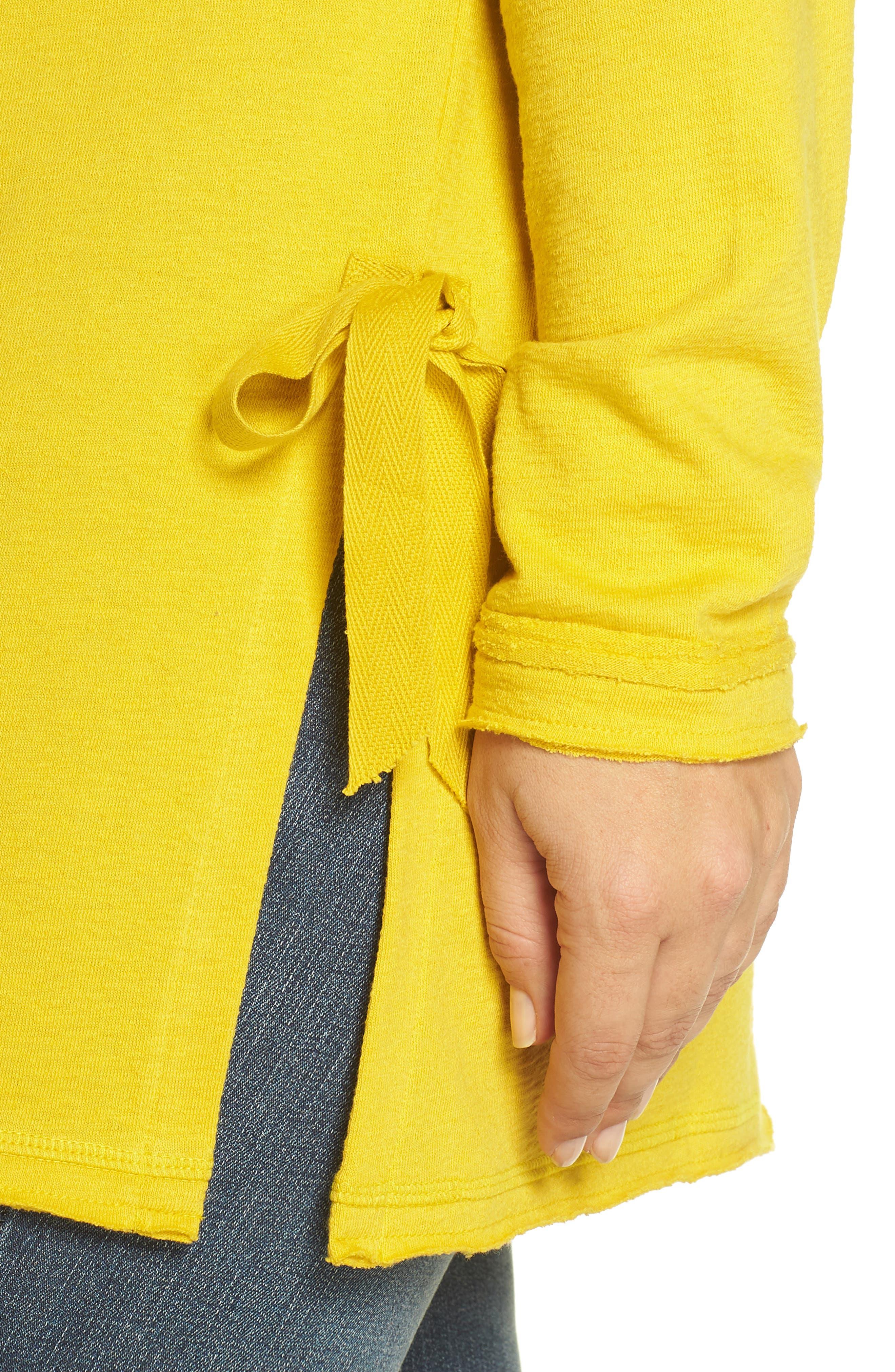 Side Tie Cotton Tunic Top,                             Alternate thumbnail 4, color,                             Yellow Tea