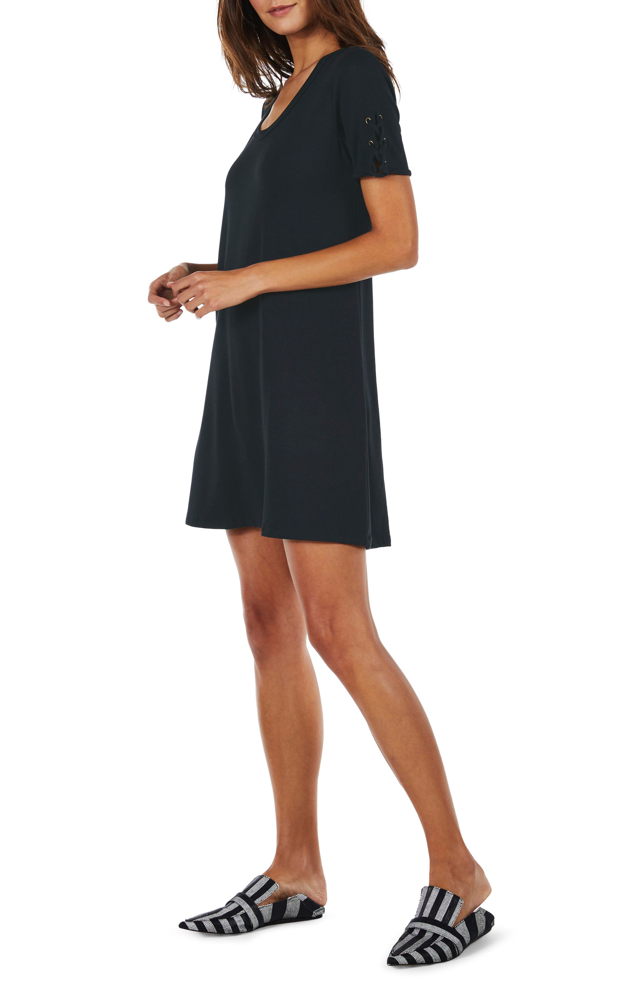 Lace-Up Sleeve Dress,                             Alternate thumbnail 3, color,                             Indigo