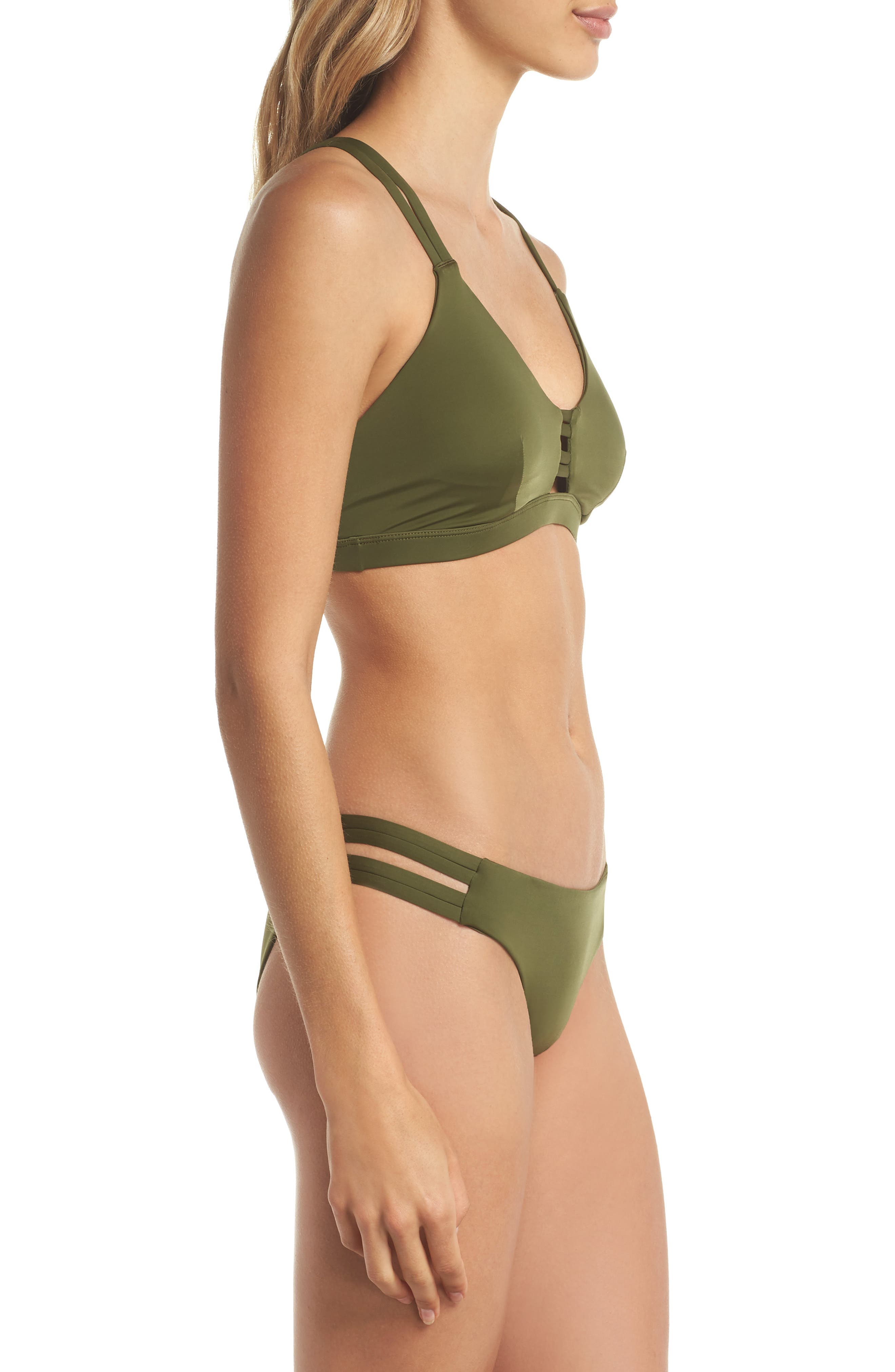 Quick Dry Max Surf Bikini Bottoms,                             Alternate thumbnail 7, color,                             Olive Canvas