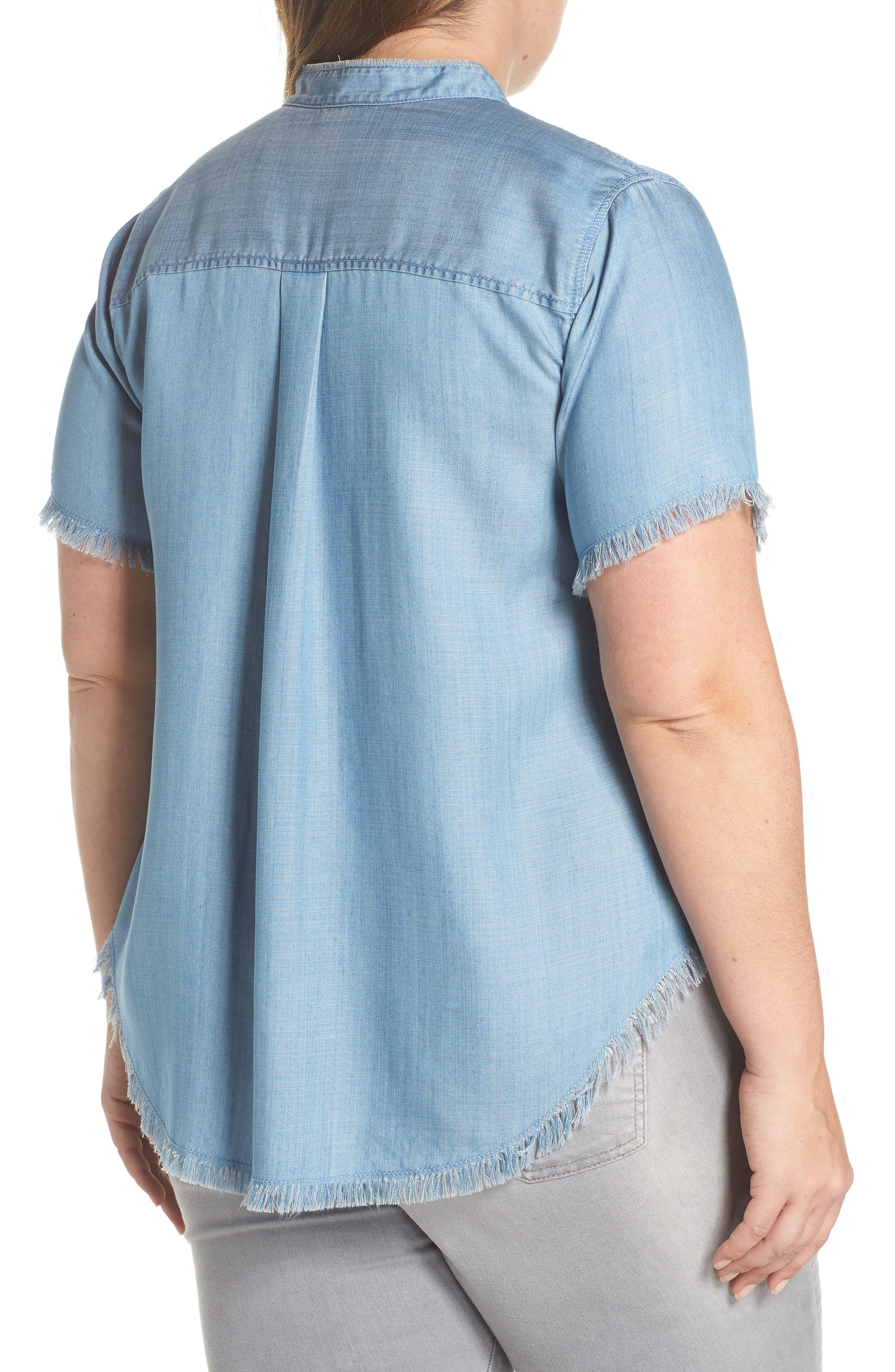 Frayed Edge Linen Chambray Shirt,                             Alternate thumbnail 2, color,                             Vintage