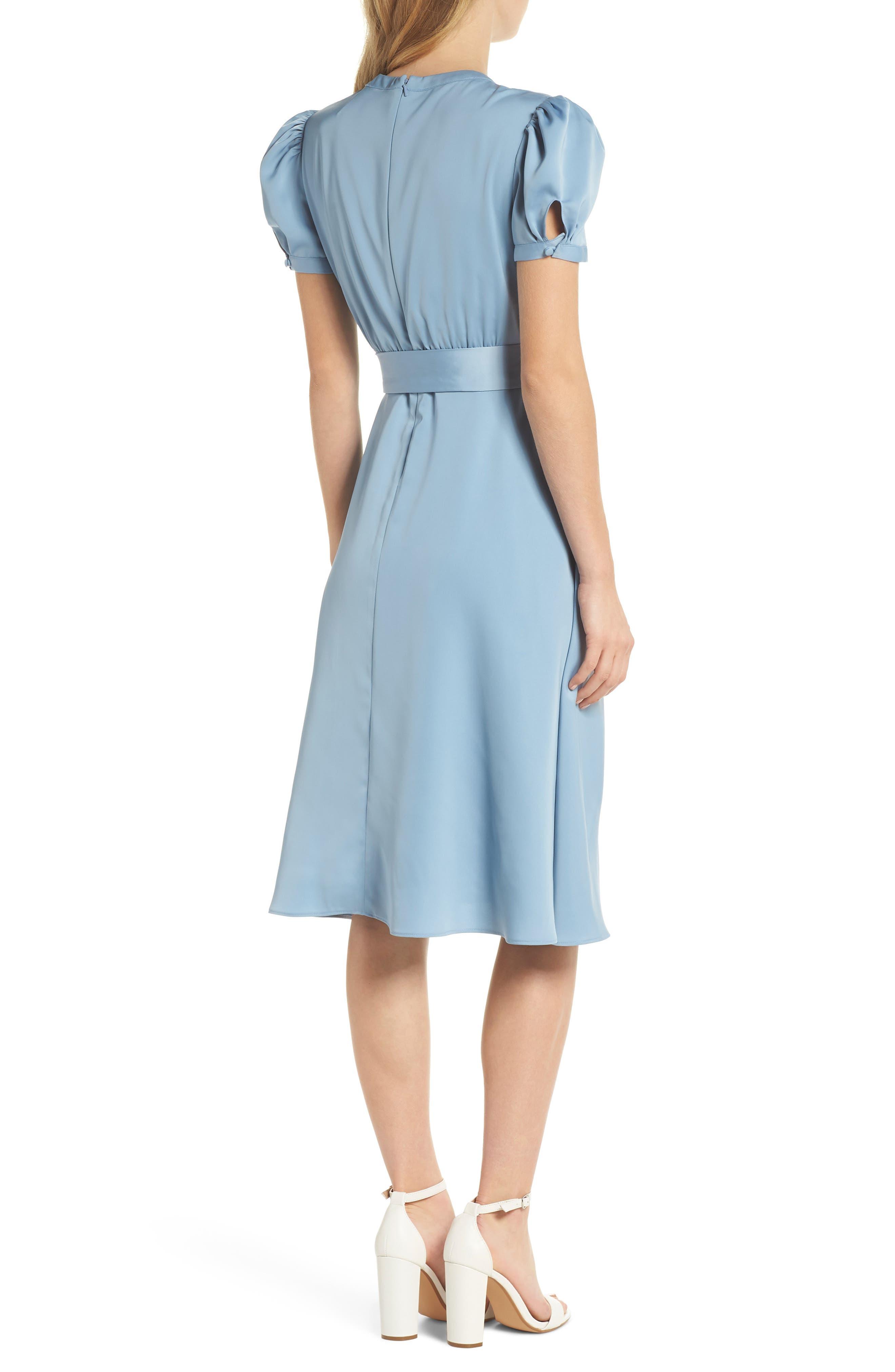 Marilyn Satin Fit & Flare Dress,                             Alternate thumbnail 3, color,                             Cornflower